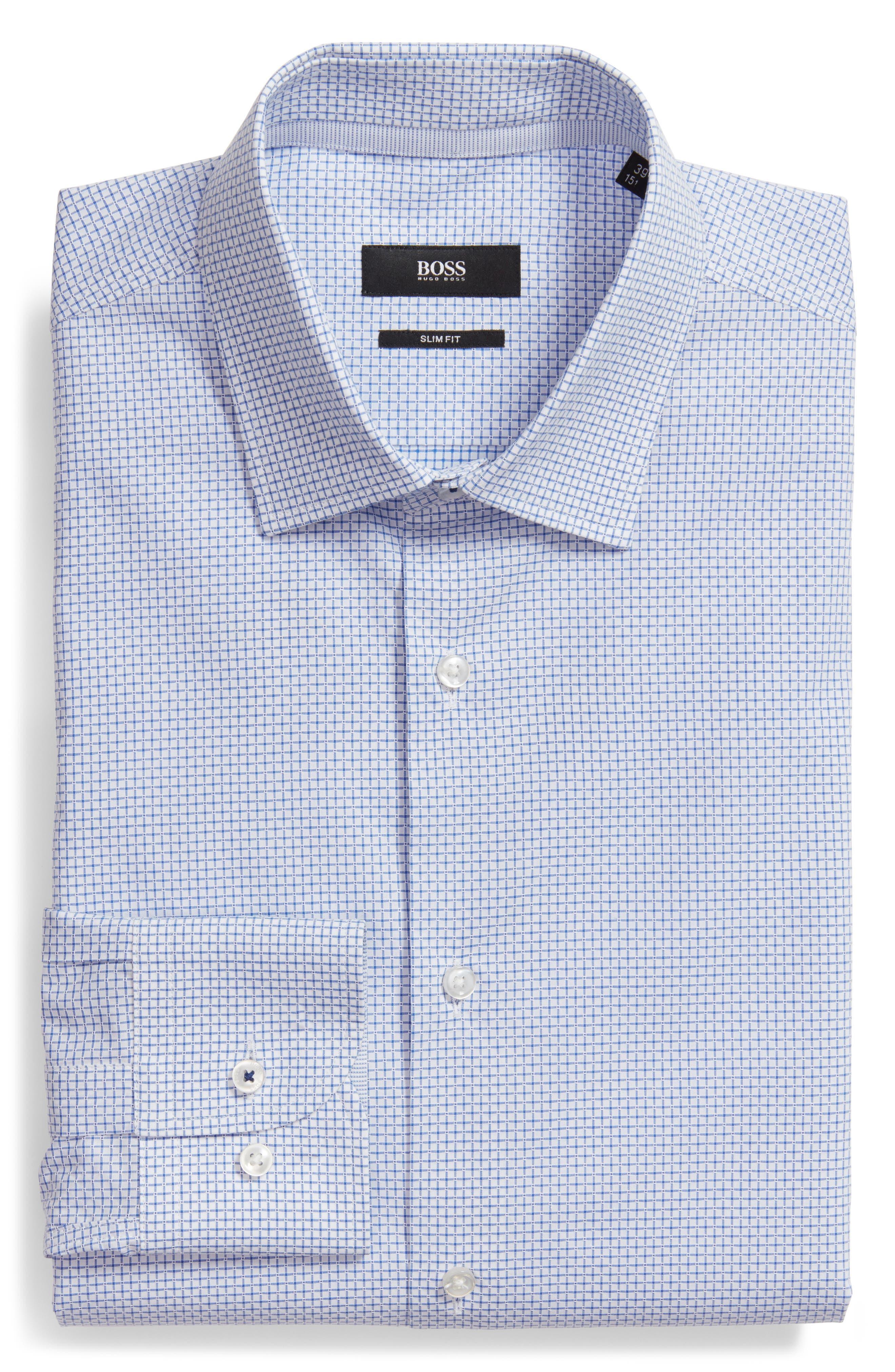 Jesse Slim Fit Check Dress Shirt,                             Alternate thumbnail 6, color,                             Blue