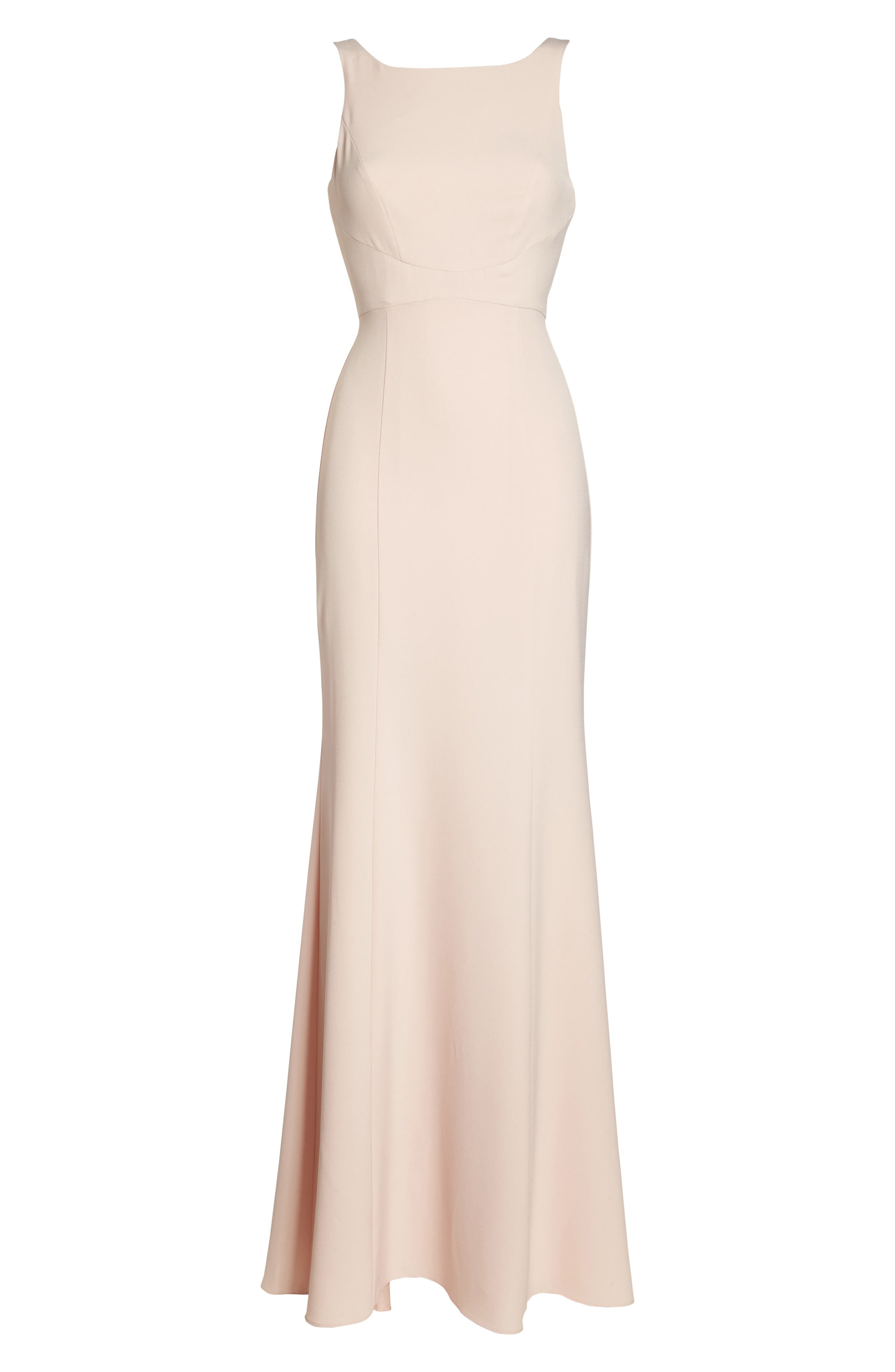Joelle Low Back Crepe Gown,                             Alternate thumbnail 6, color,                             Blush