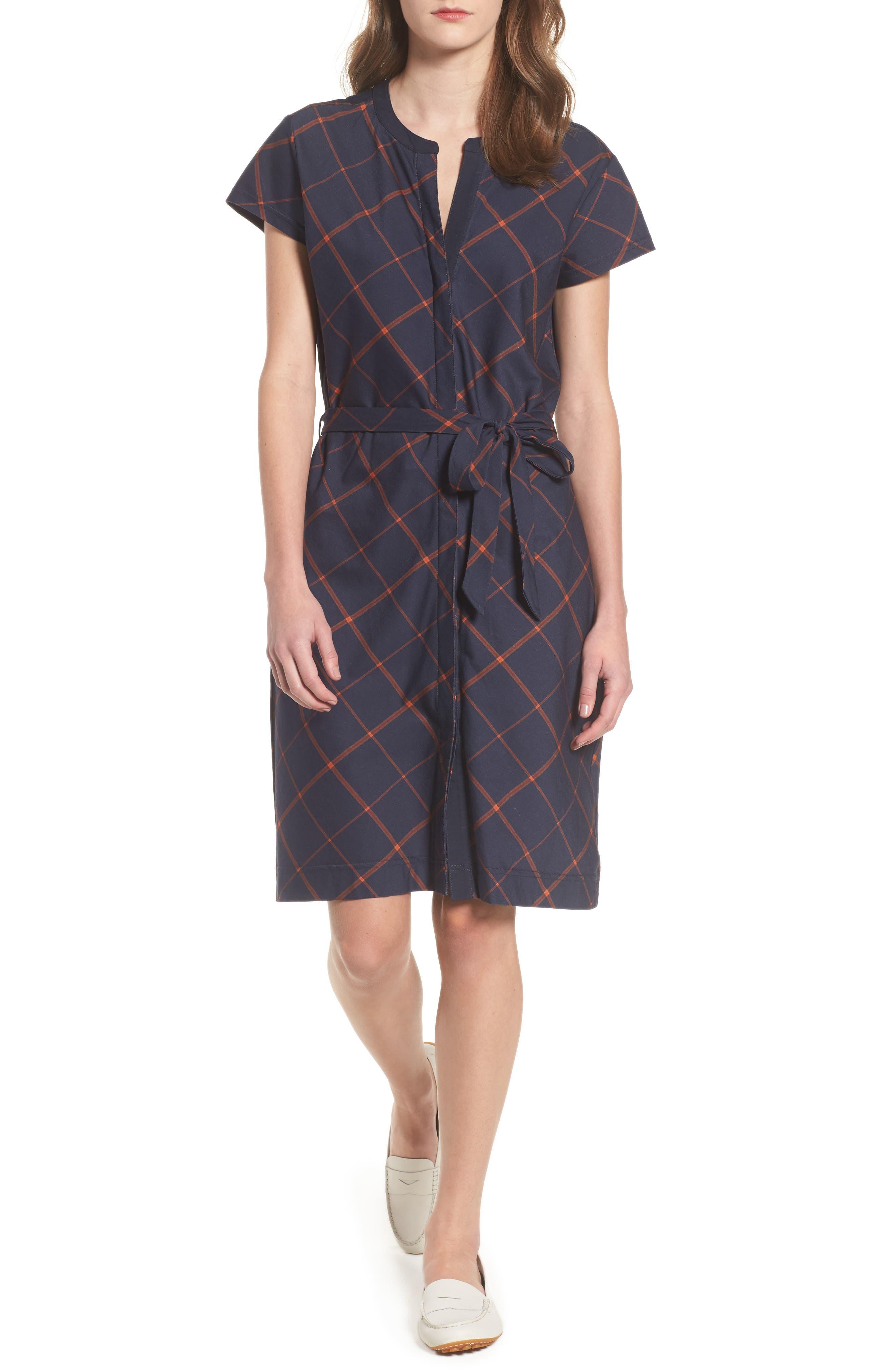 Glenrothes Windowpane Plaid Dress,                             Main thumbnail 1, color,                             Navy Check