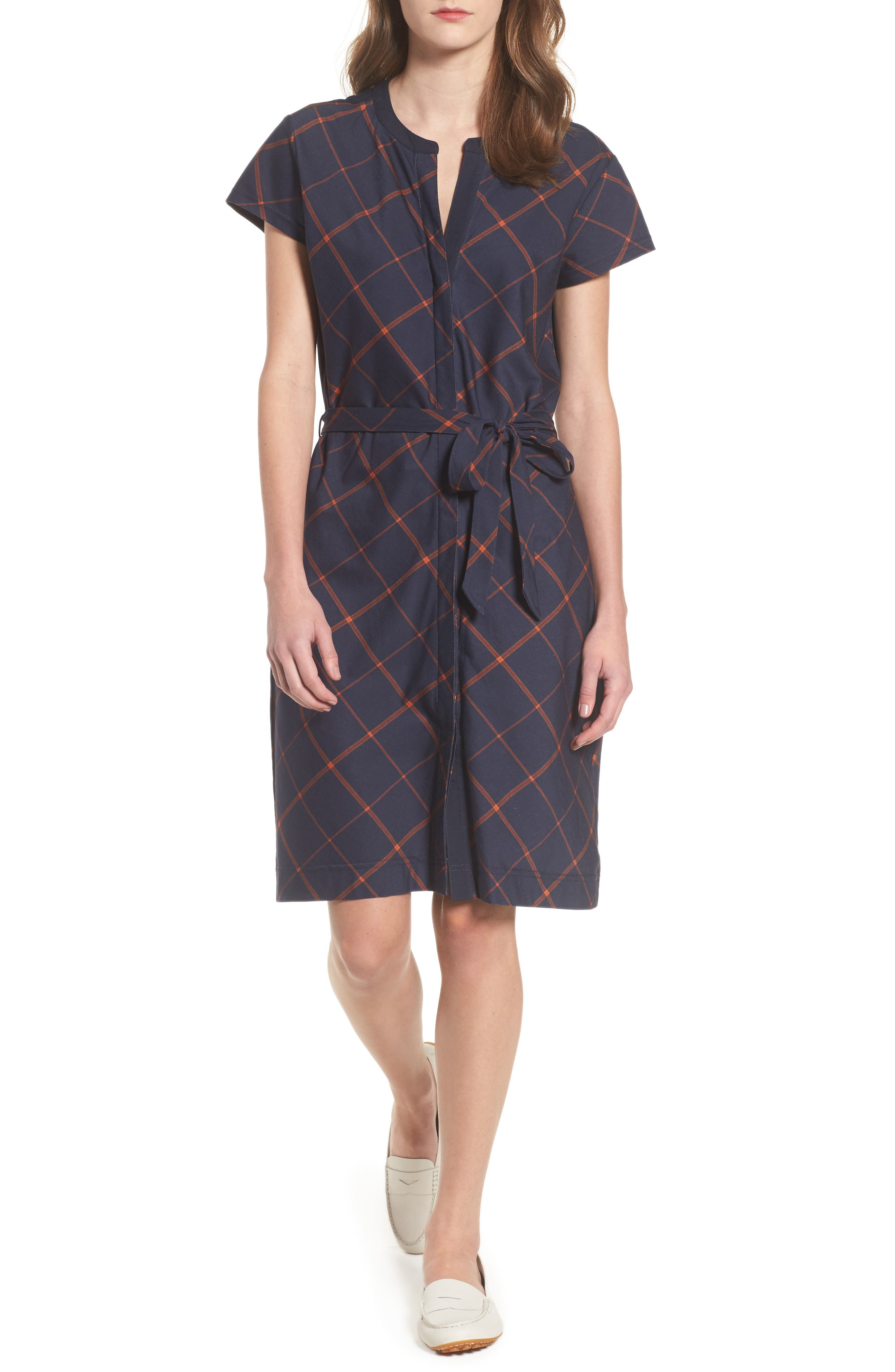 Glenrothes Windowpane Plaid Dress,                         Main,                         color, Navy Check