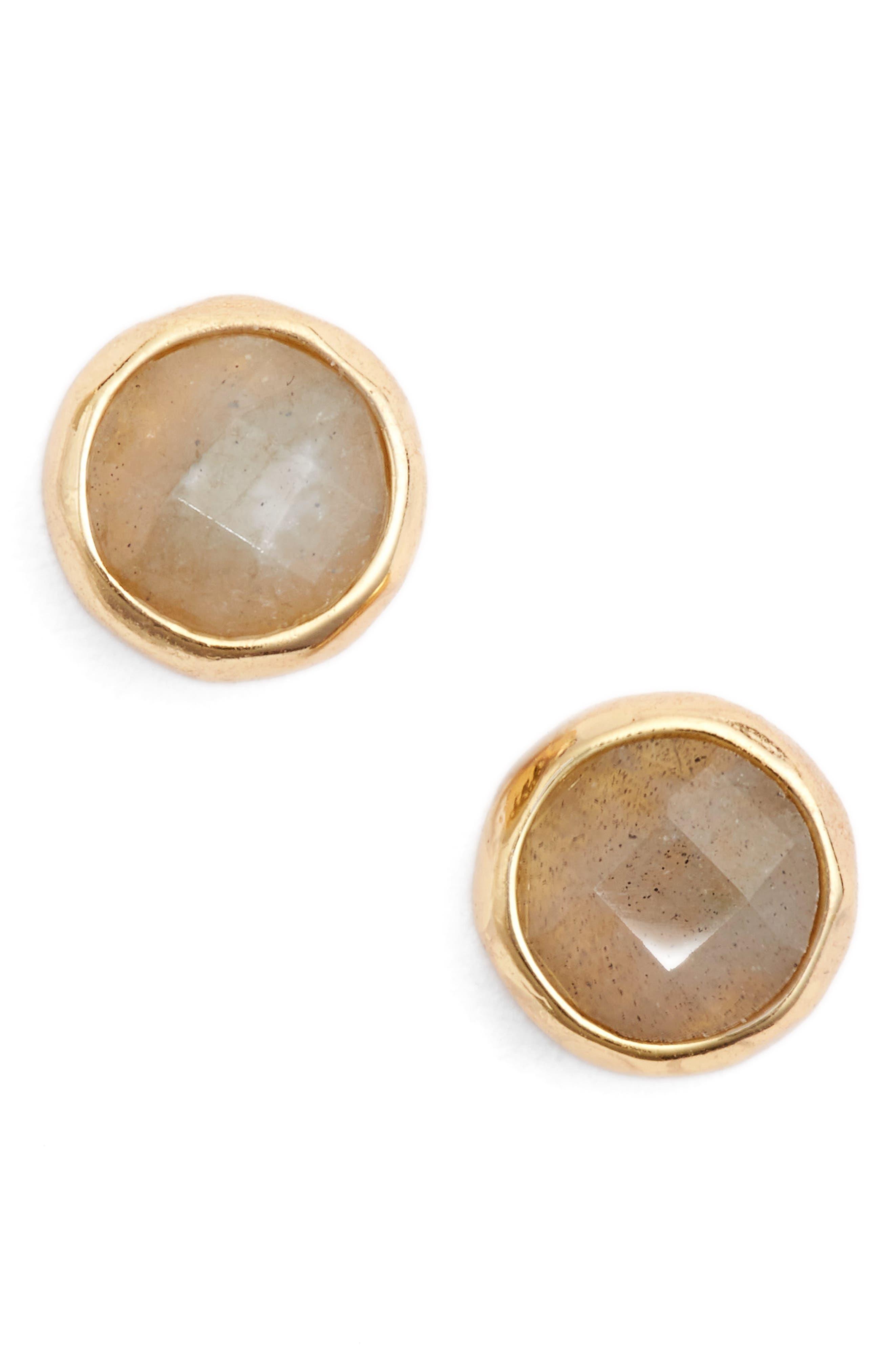 Balance Stud Earrings,                         Main,                         color, Labradorite/ Gold