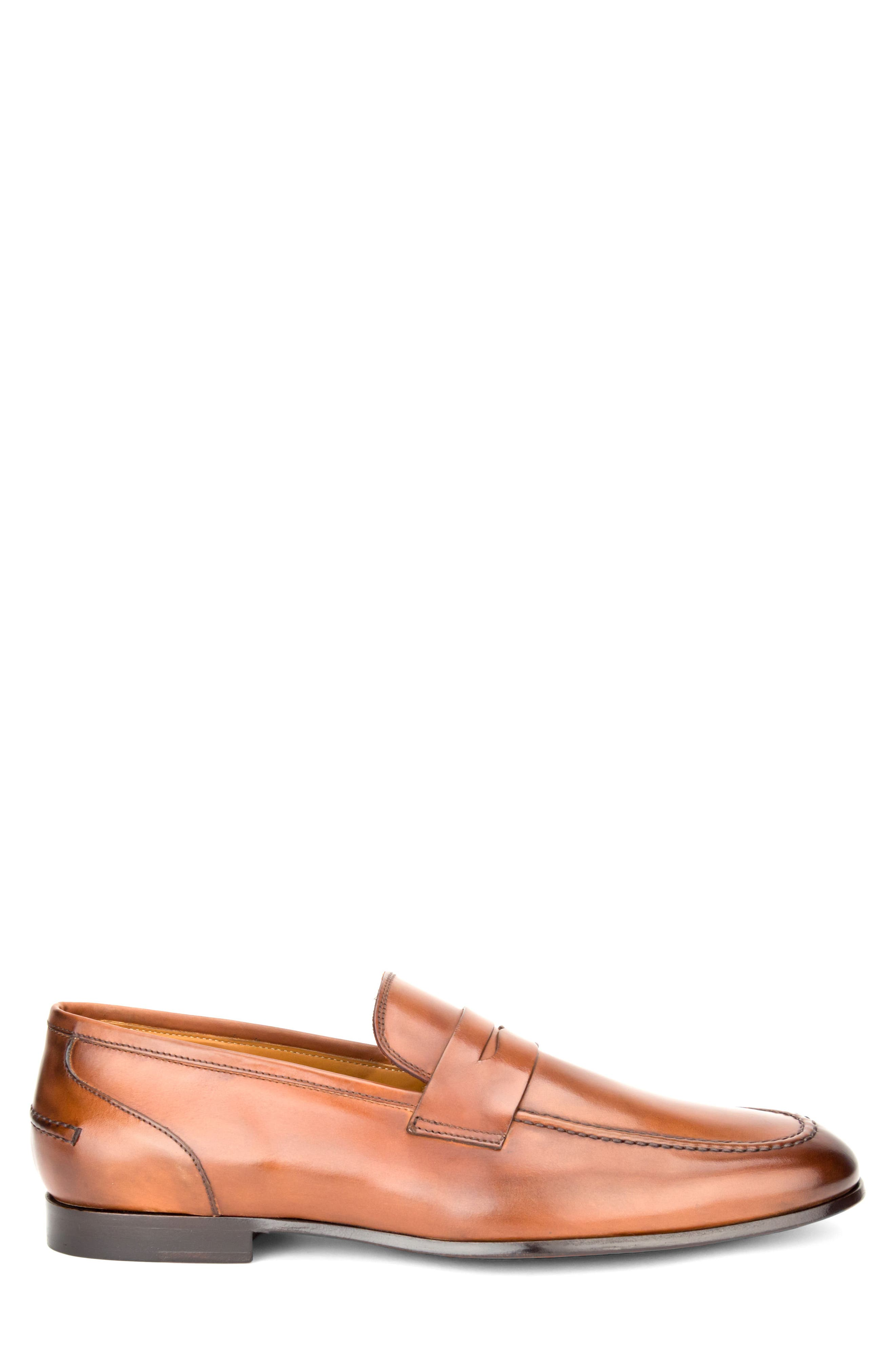 Coleman Apron Toe Penny Loafer,                             Alternate thumbnail 3, color,                             Tan Leather