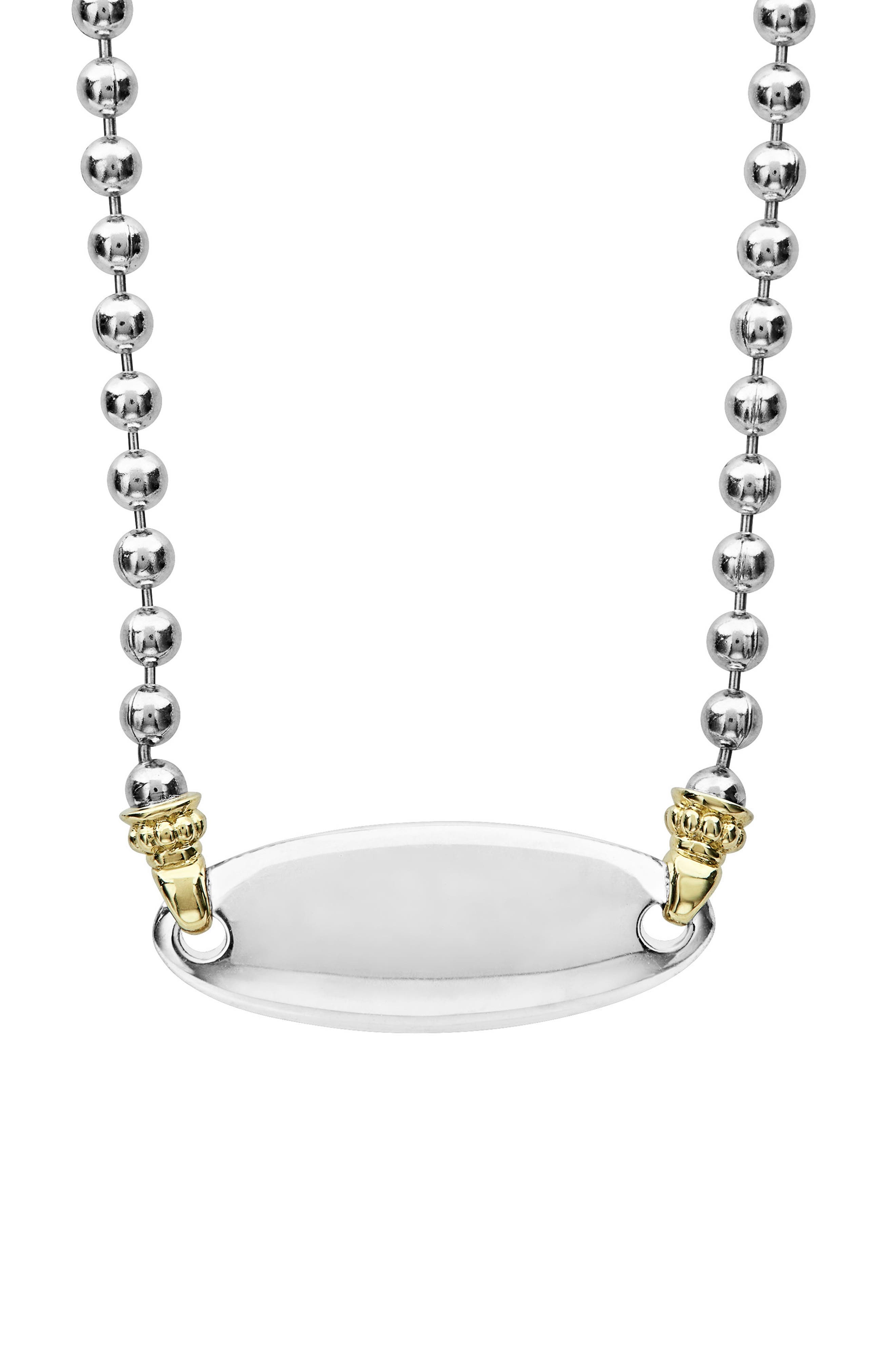 Beloved Oval Plate Chain Necklace,                             Alternate thumbnail 2, color,                             Silver