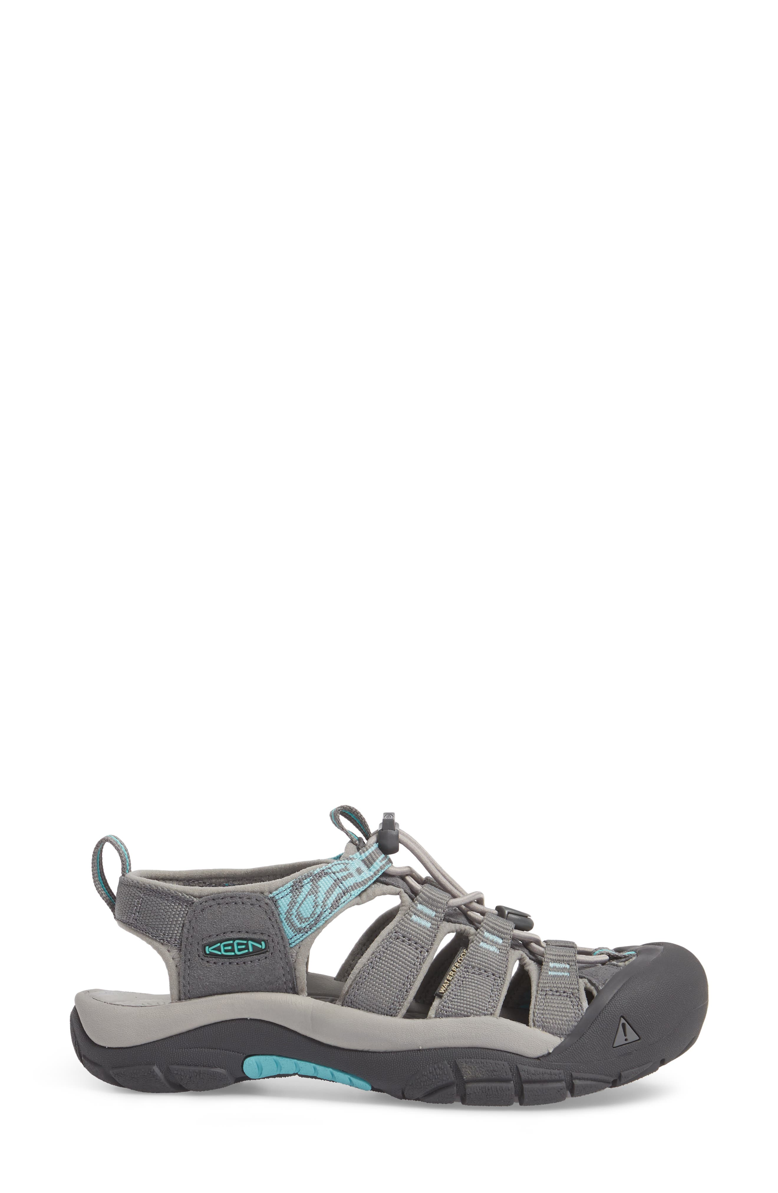 Newport Hydro Sandal,                             Alternate thumbnail 3, color,                             Steel Grey/ Blue Turquoise