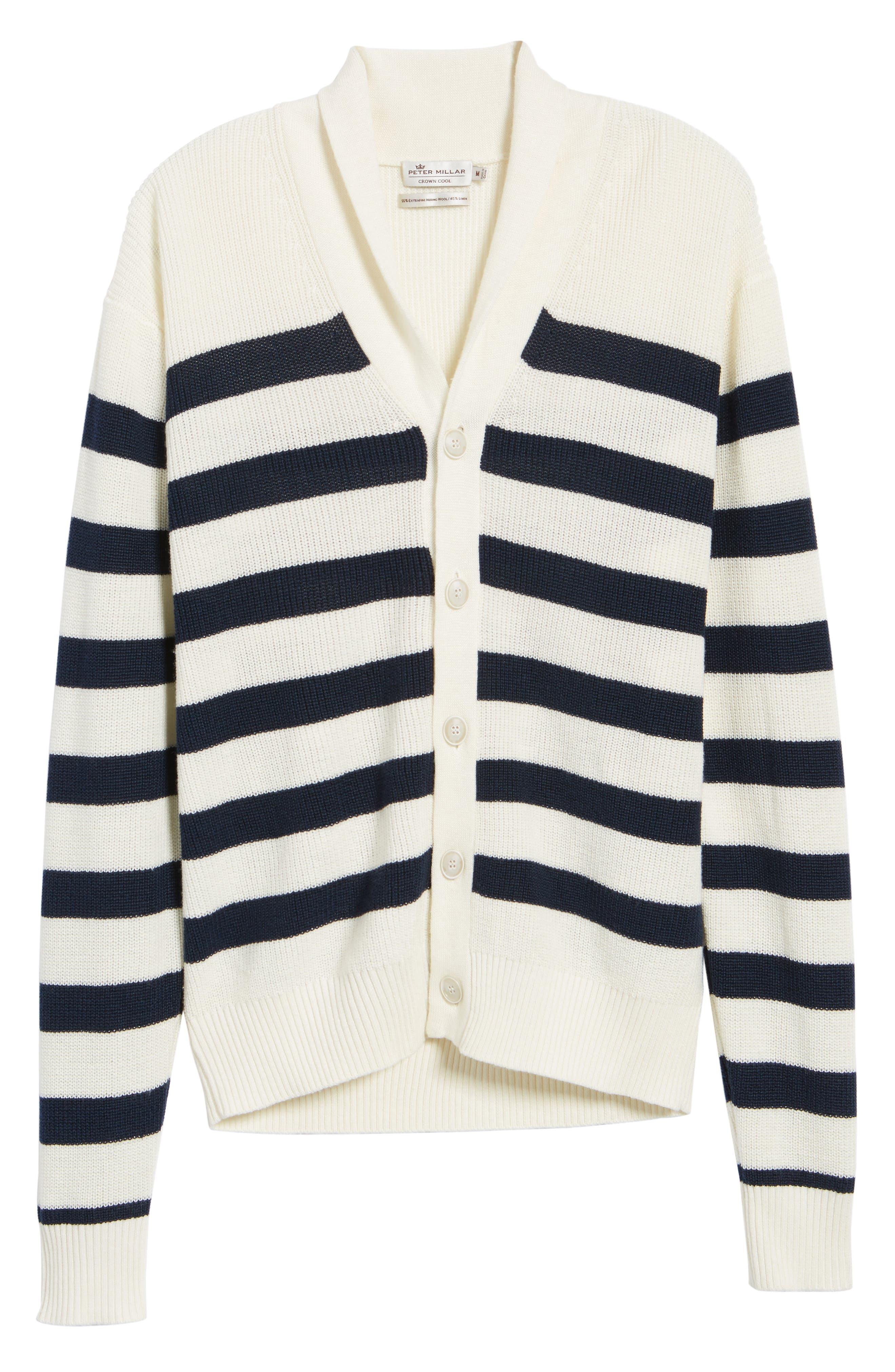 Crown Cool Sailor Stripe Merino Wool & Linen Cardigan,                             Alternate thumbnail 6, color,                             Yankee Blue