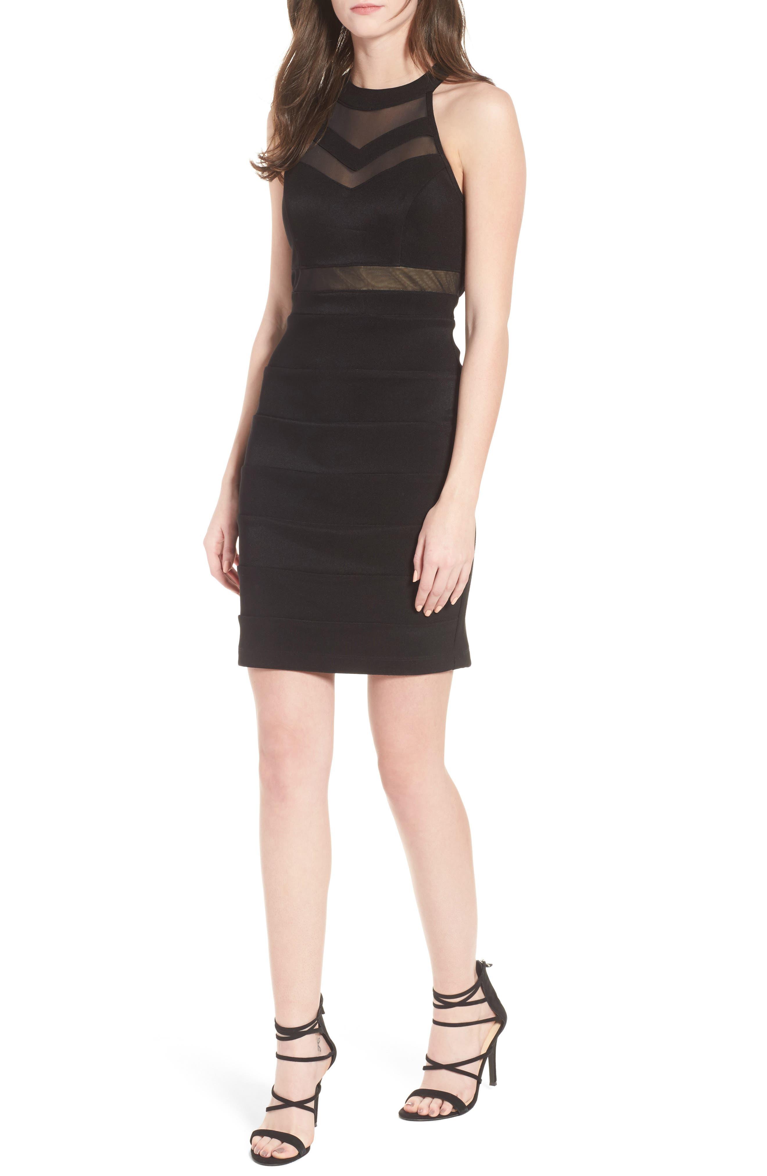 Illusion Body-Con Dress,                         Main,                         color, Black