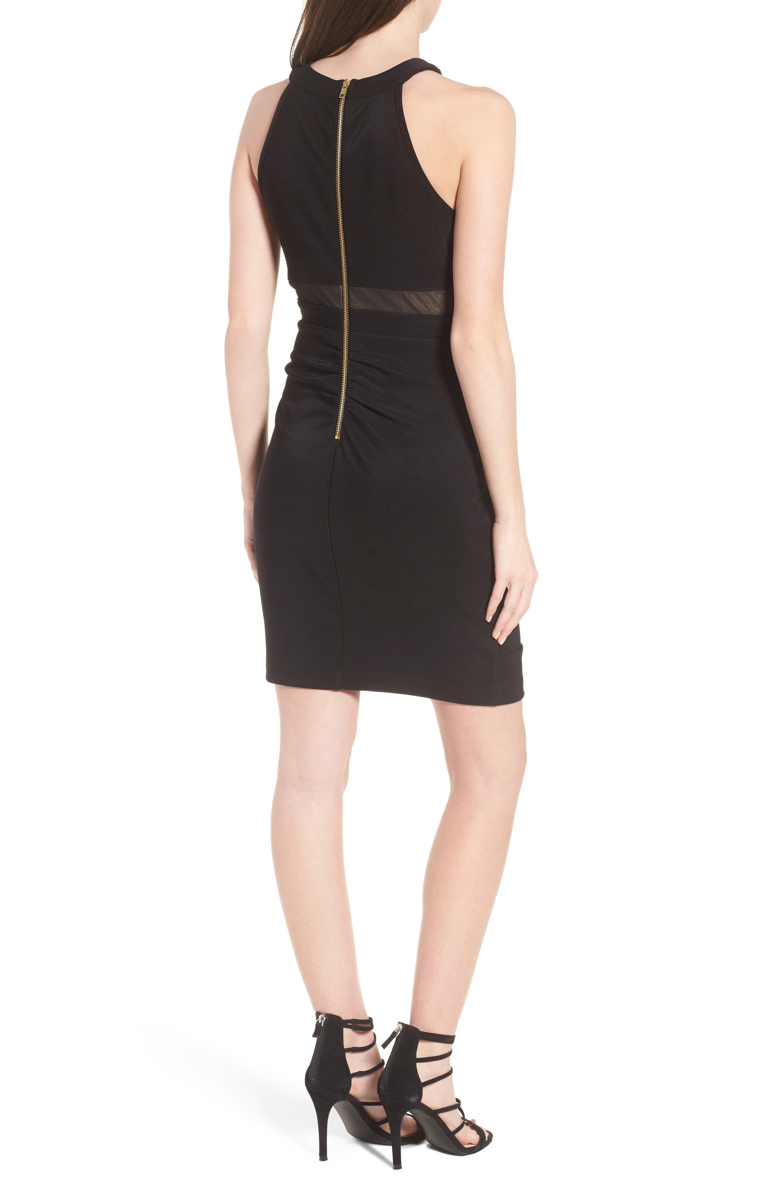Illusion Body-Con Dress,                             Alternate thumbnail 2, color,                             Black