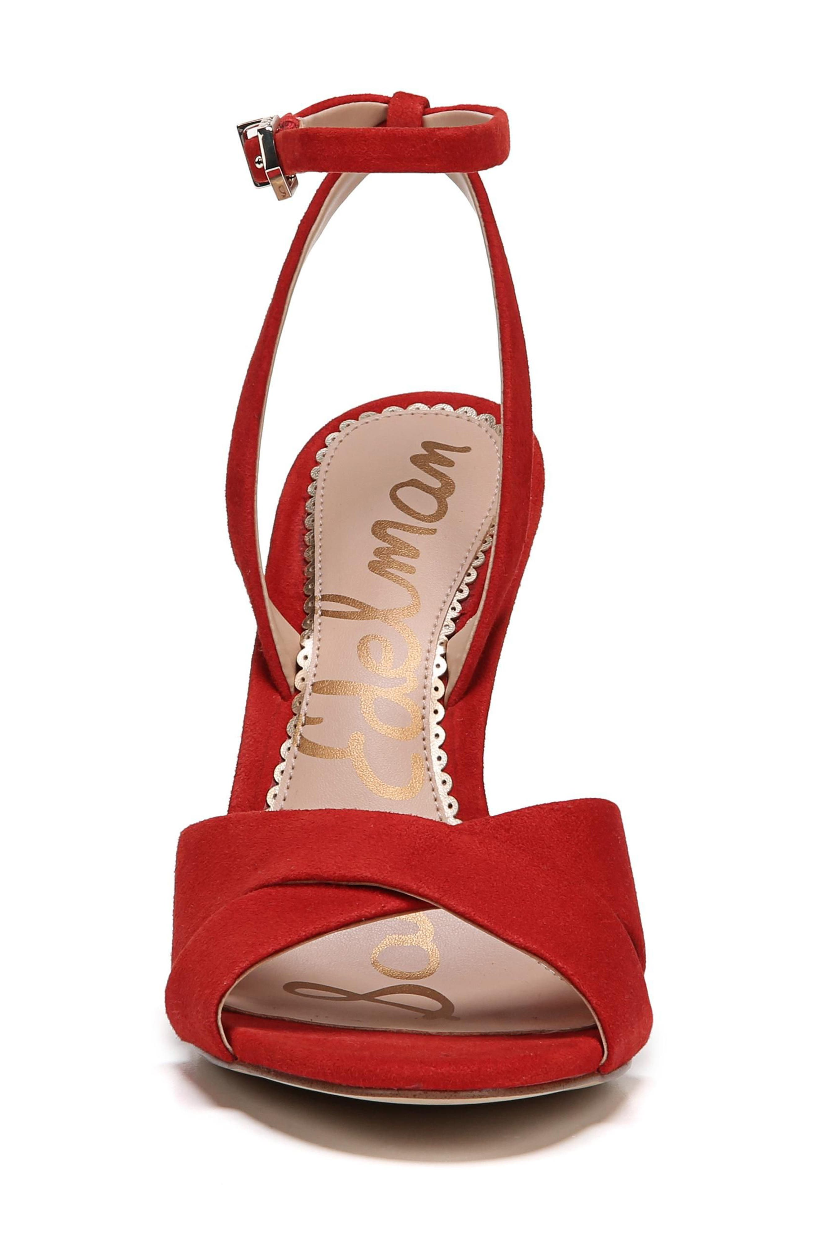 Aly Ankle Strap Sandal,                             Alternate thumbnail 4, color,                             Candy Red Leather