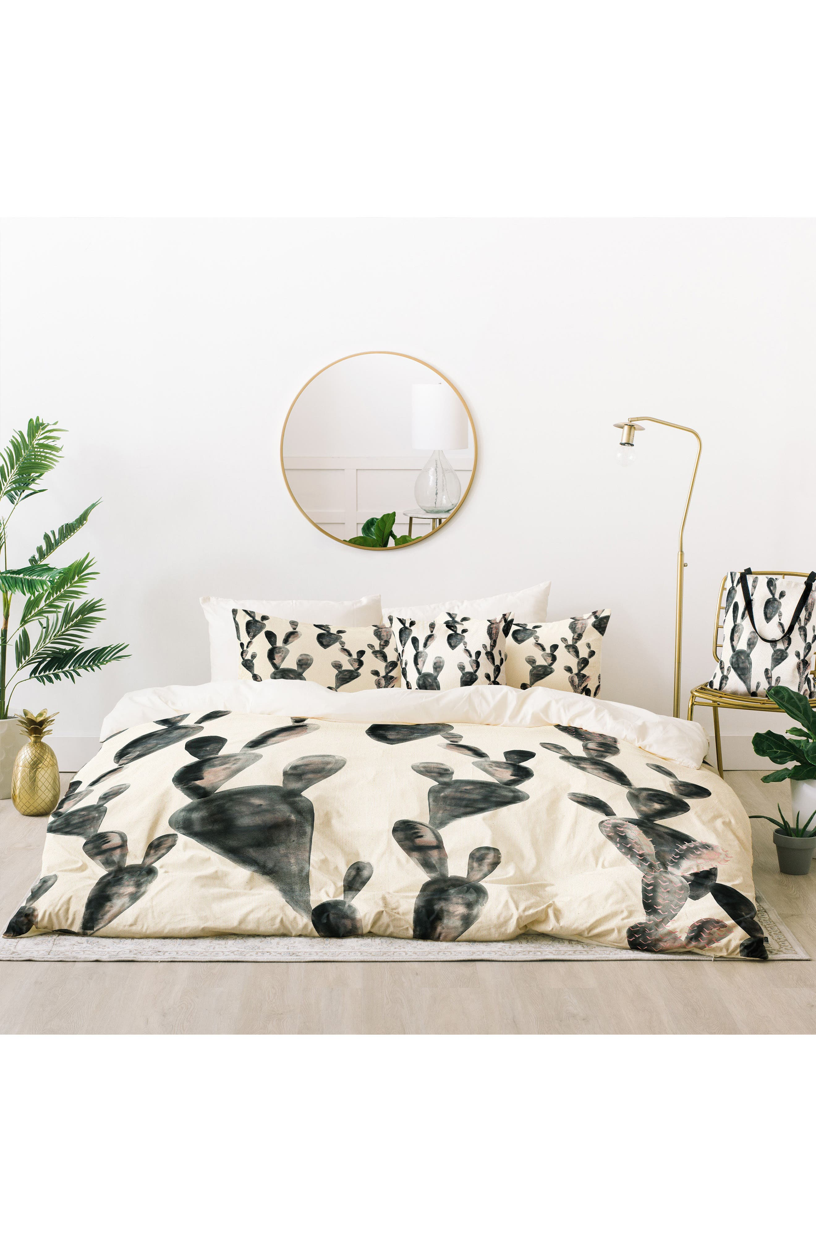 Midnight Cactus Bed in a Bag Duvet Cover, Sham & Accent Pillow Set,                             Main thumbnail 1, color,                             Charcoal