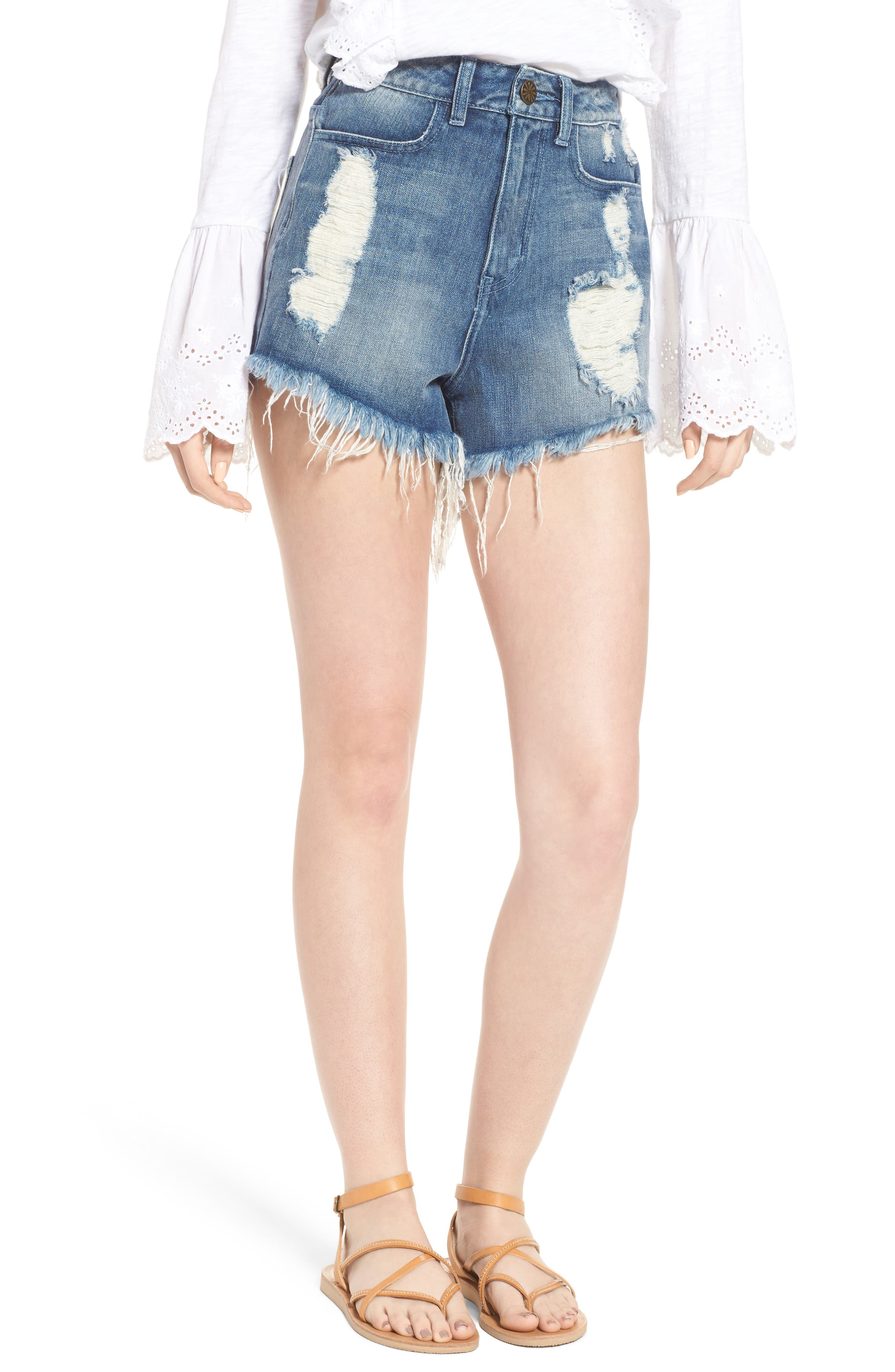 Show Me Your Mumu Wyoming High Waist Cutoff Denim Shorts (Surf With Bullhead)