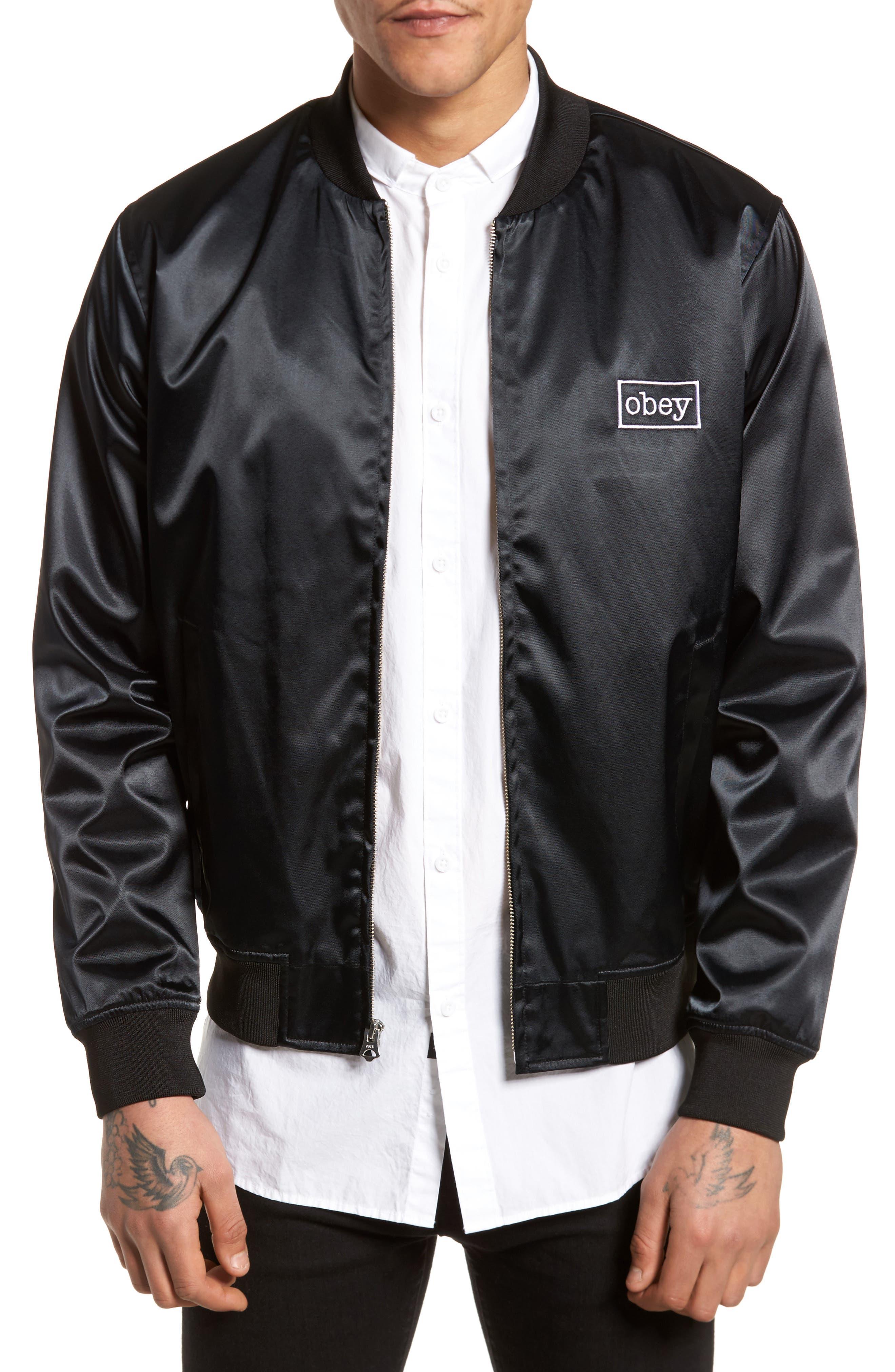 Band Bomber Jacket,                         Main,                         color, Black