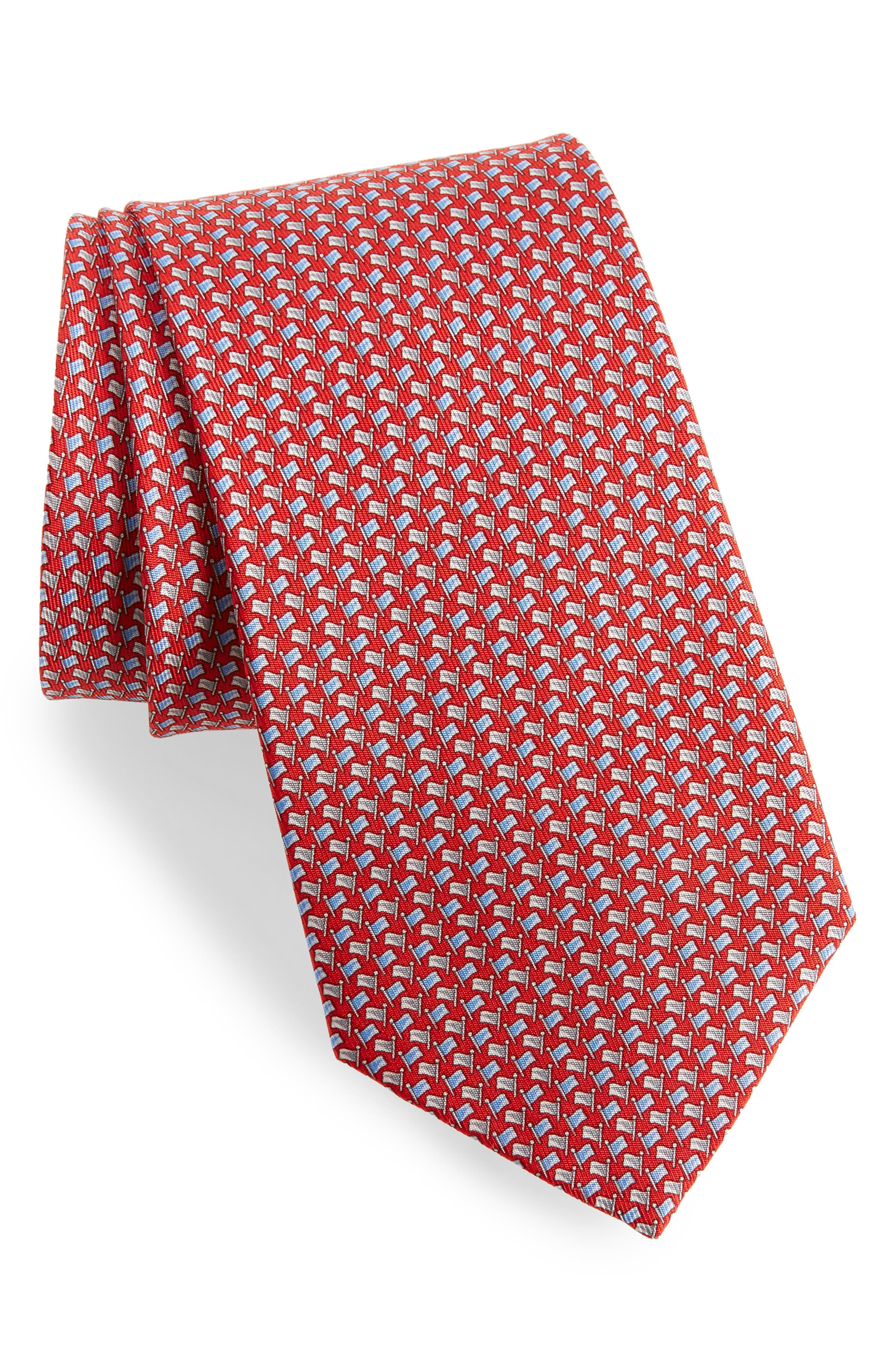 Edda Geometric Silk Tie,                             Main thumbnail 1, color,                             Red