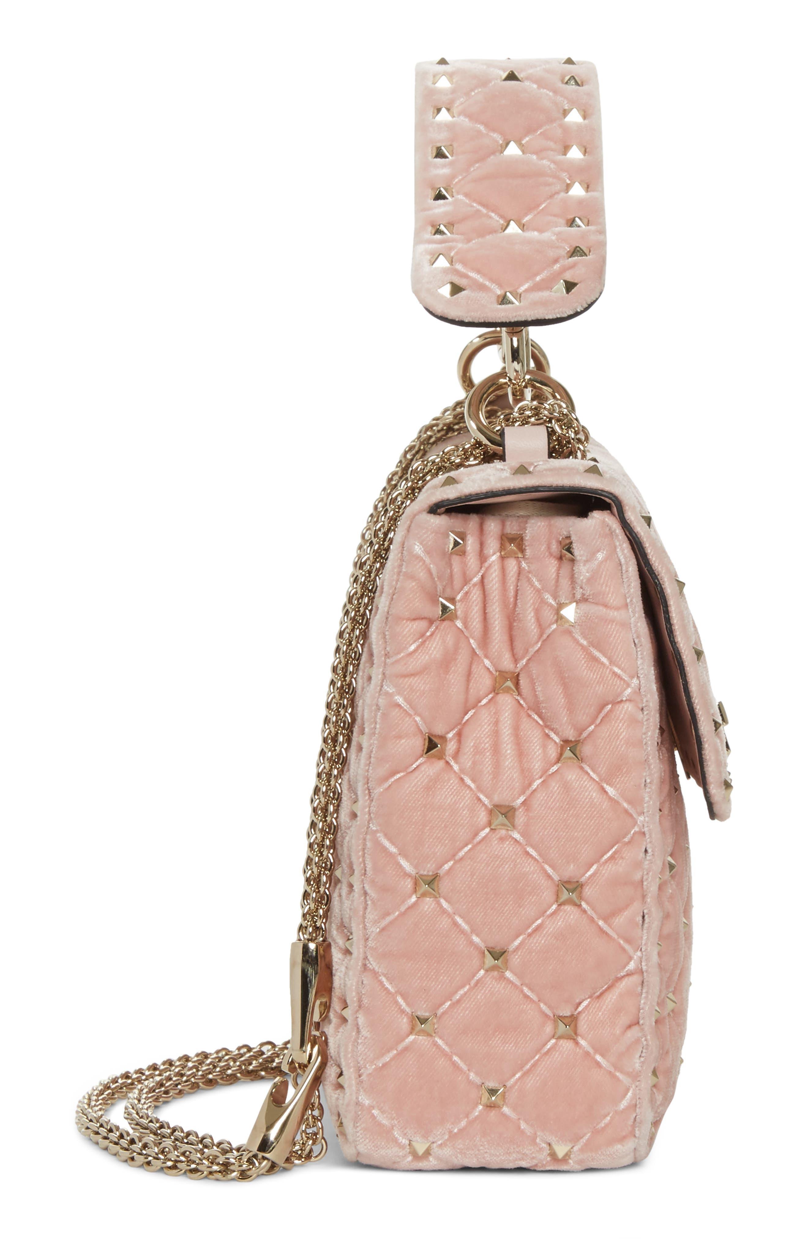 Rockstud Spike Velvet Shoulder Bag,                             Alternate thumbnail 5, color,                             Pink