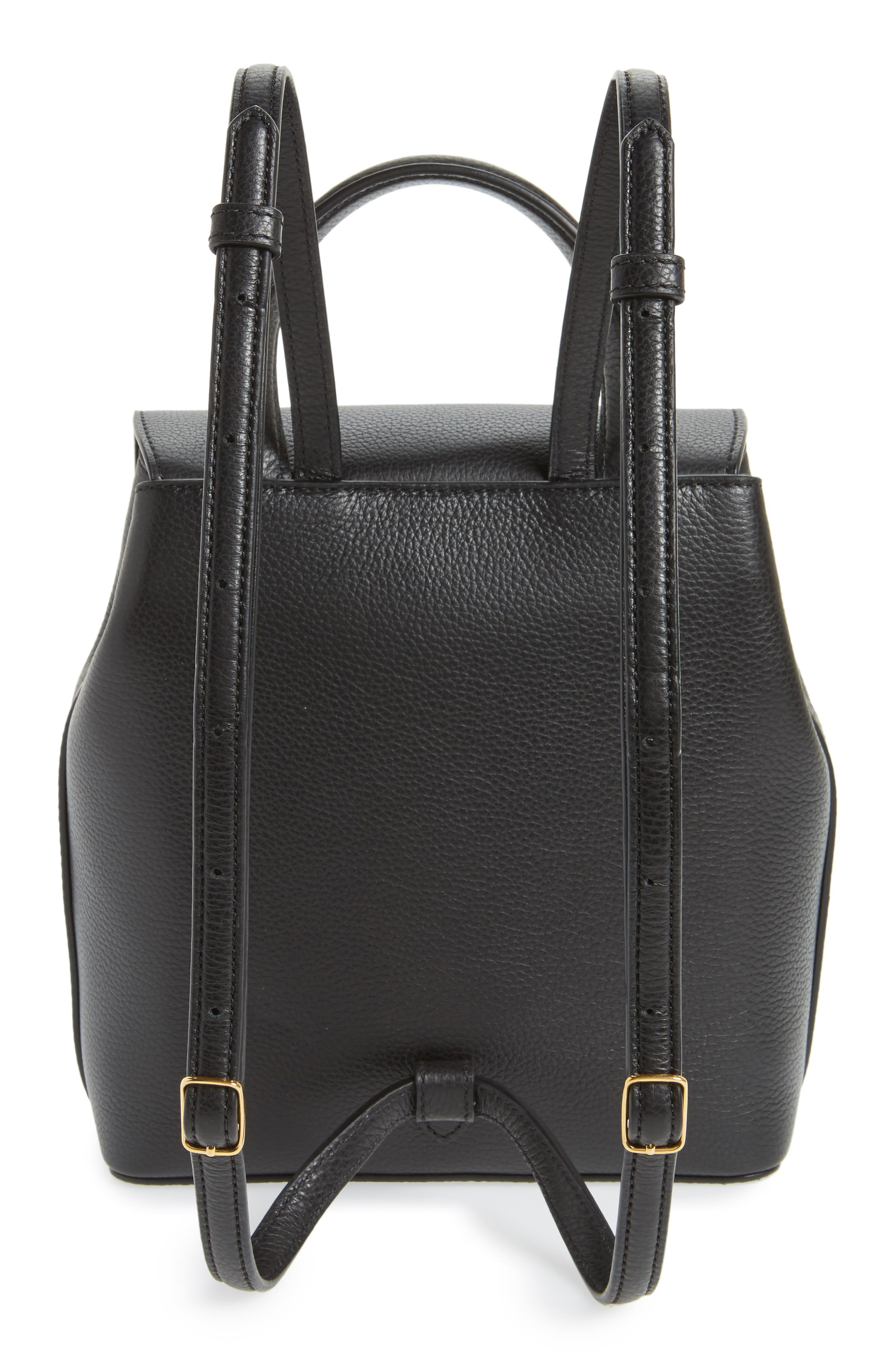 Mini Bayswater Calfskin Leather Convertible Backpack,                             Alternate thumbnail 3, color,                             Black