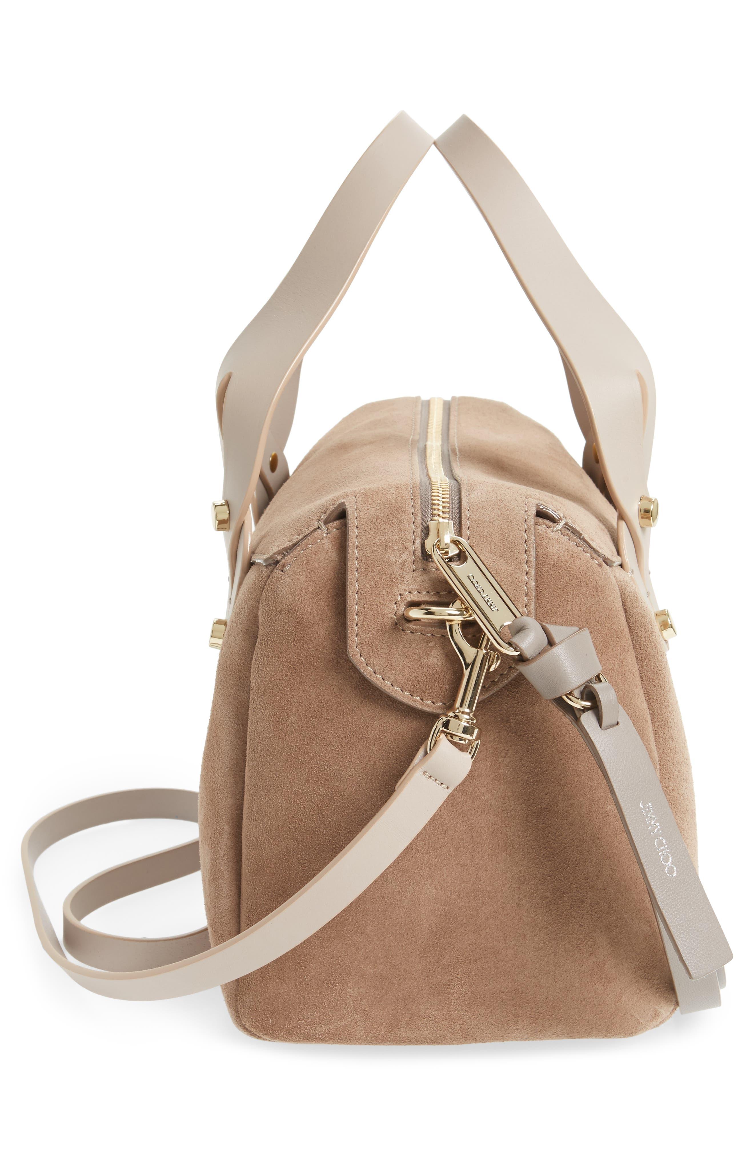 Small Allie Nappa Leather Bowling Bag,                             Alternate thumbnail 5, color,                             Light Mocha