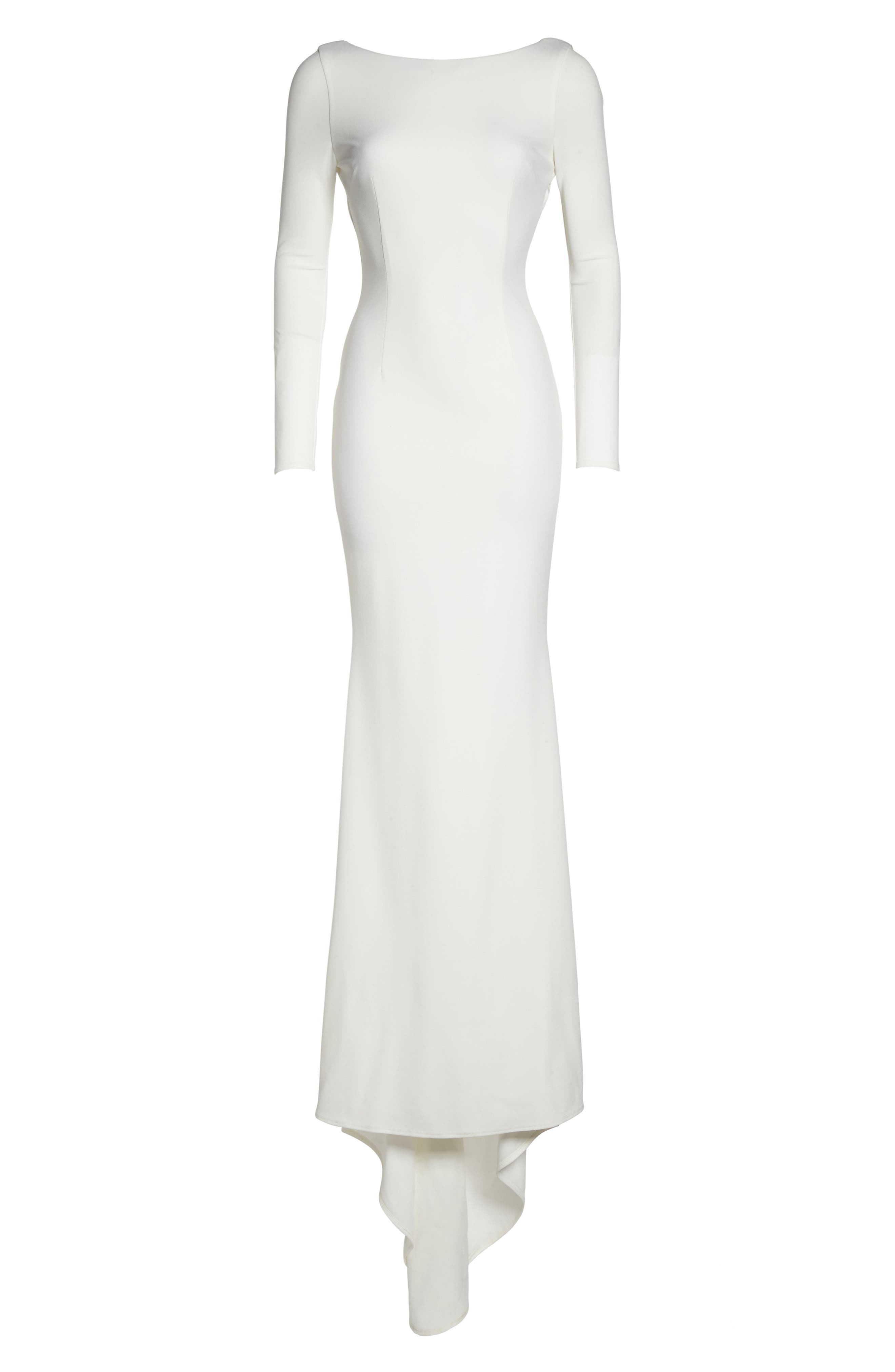 Cowl Back Crepe Gown,                             Alternate thumbnail 13, color,                             Ivory