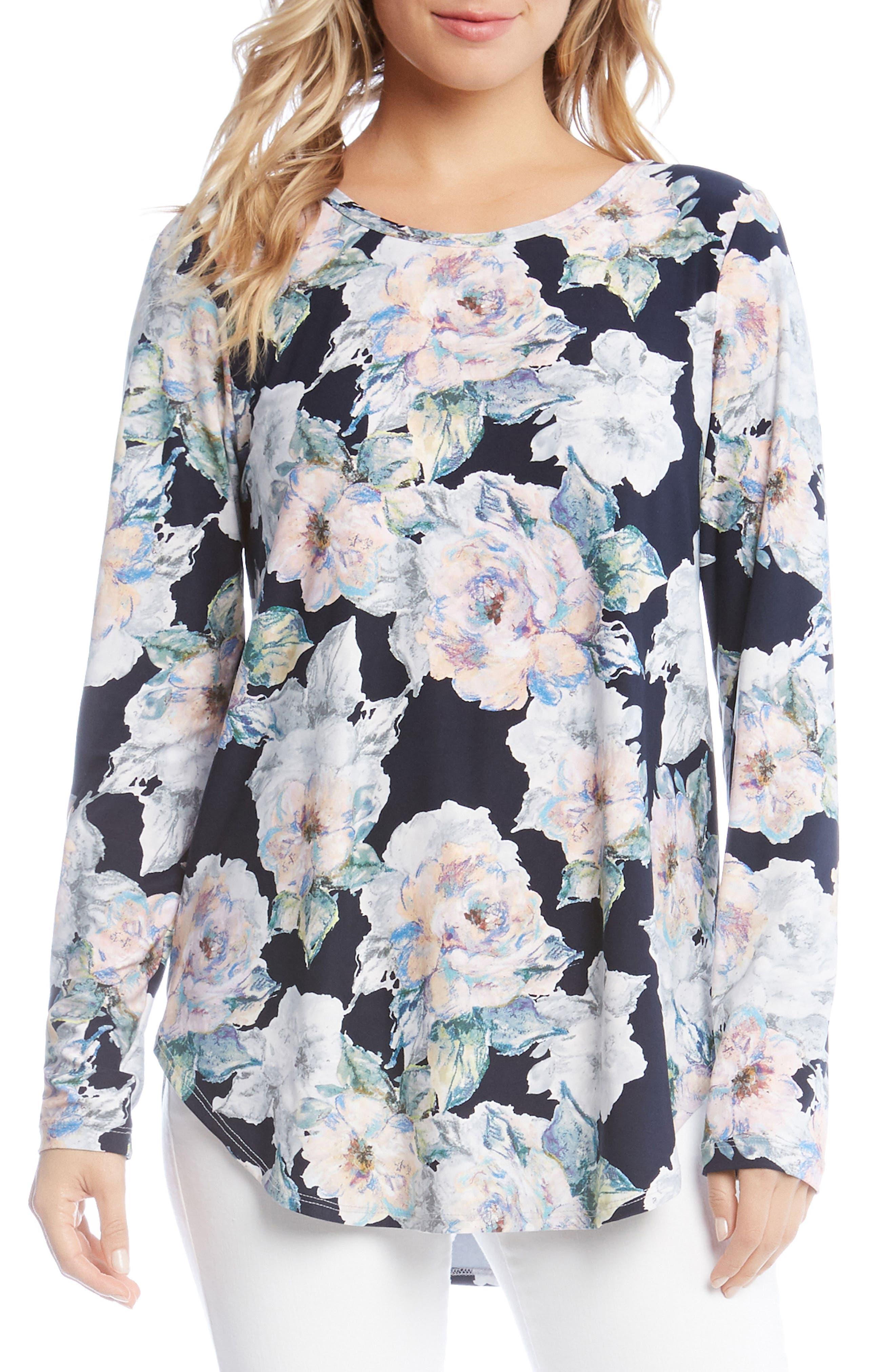 Floral Shirttail Top,                             Main thumbnail 1, color,                             Floral