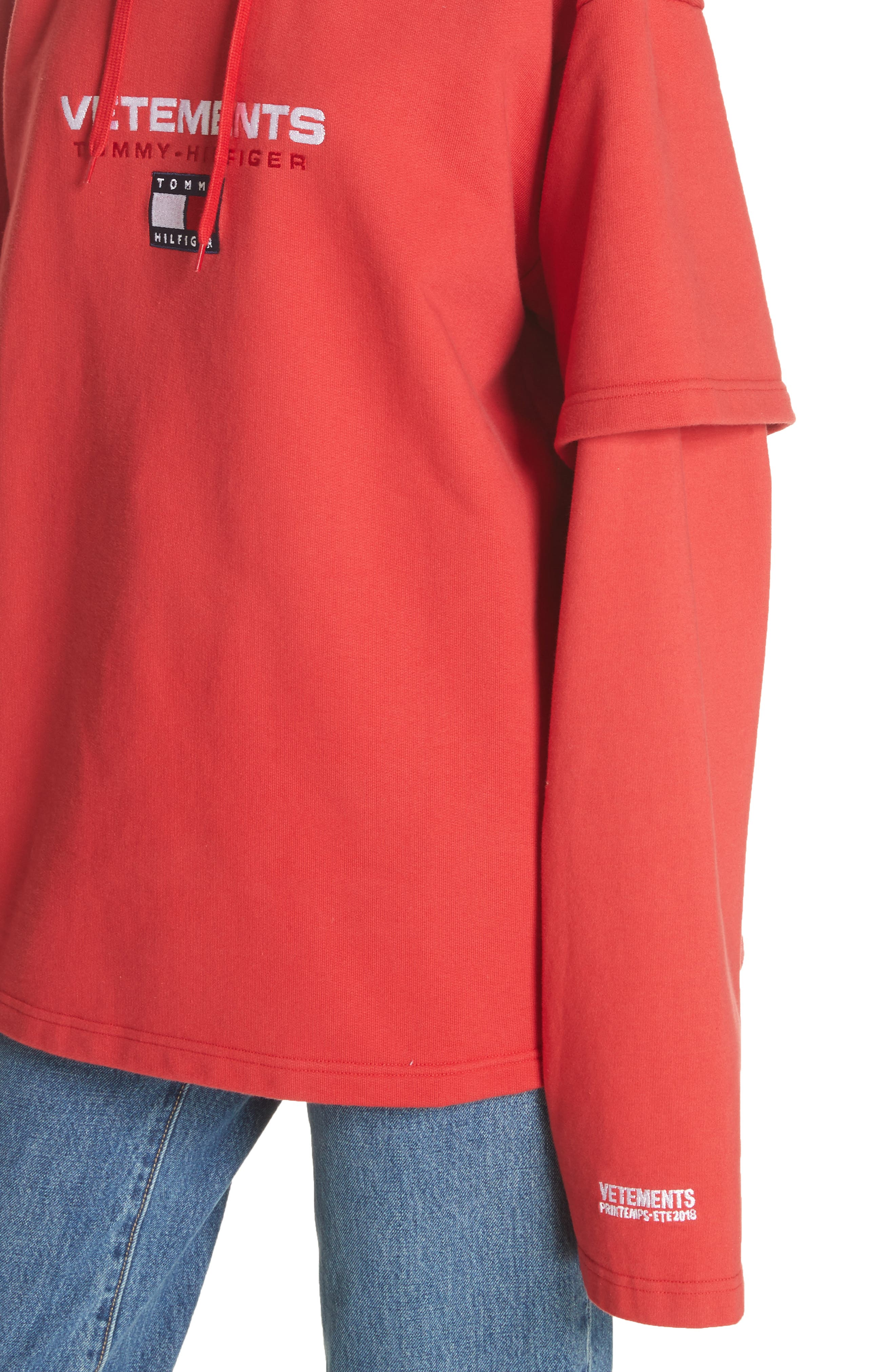 Tommy Hilfiger Double Sleeve Hoodie,                             Alternate thumbnail 4, color,                             Red