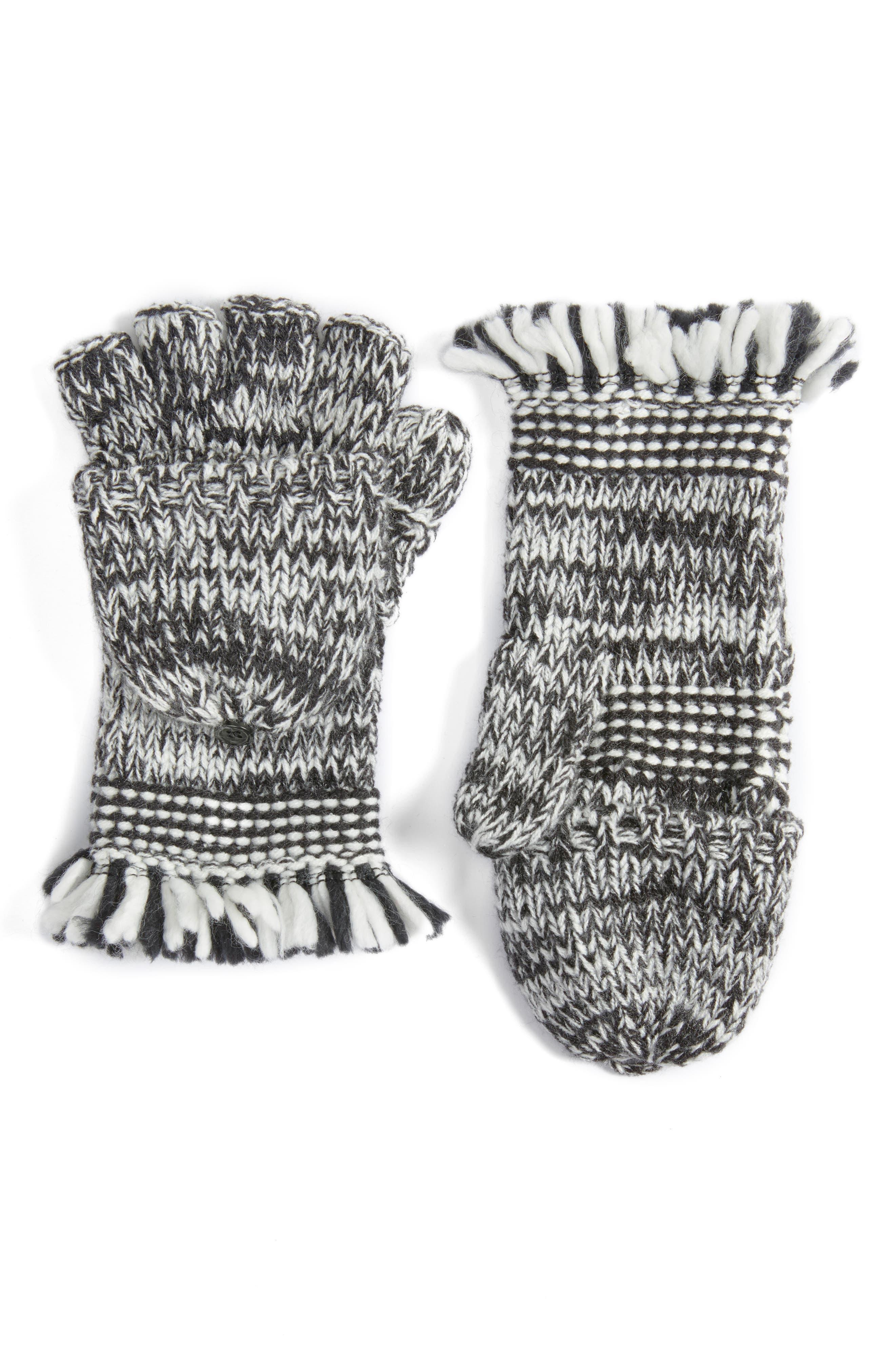 Mouline Fringe Convertible Knit Mittens,                             Main thumbnail 1, color,                             Black/ Ivory