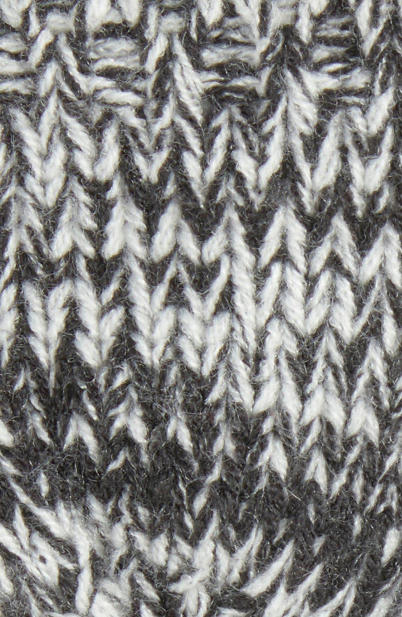 Mouline Fringe Convertible Knit Mittens,                             Alternate thumbnail 2, color,                             Black/ Ivory