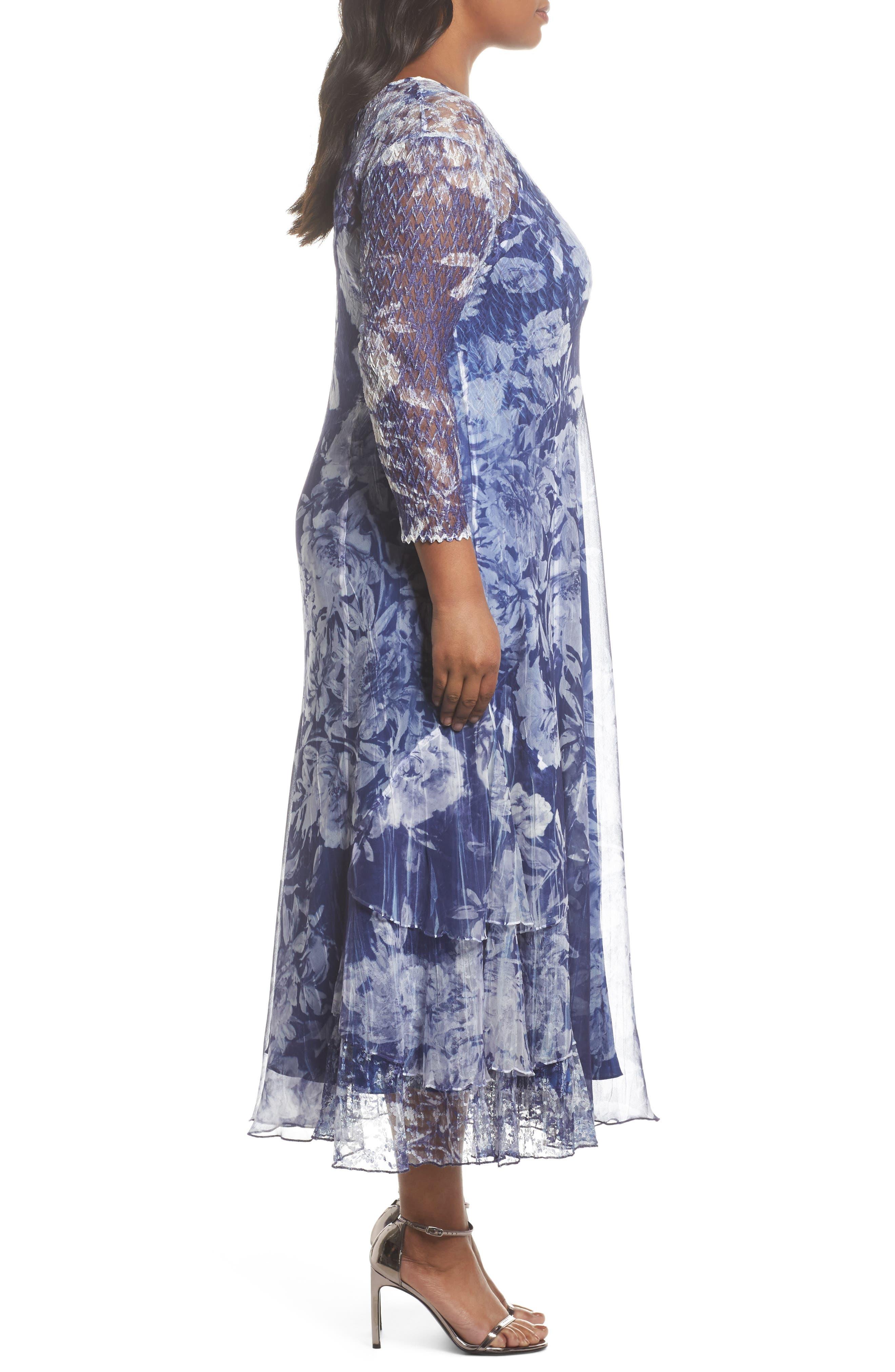 Print Chiffon Tiered Maxi Dress,                             Alternate thumbnail 3, color,                             Indigo Fields
