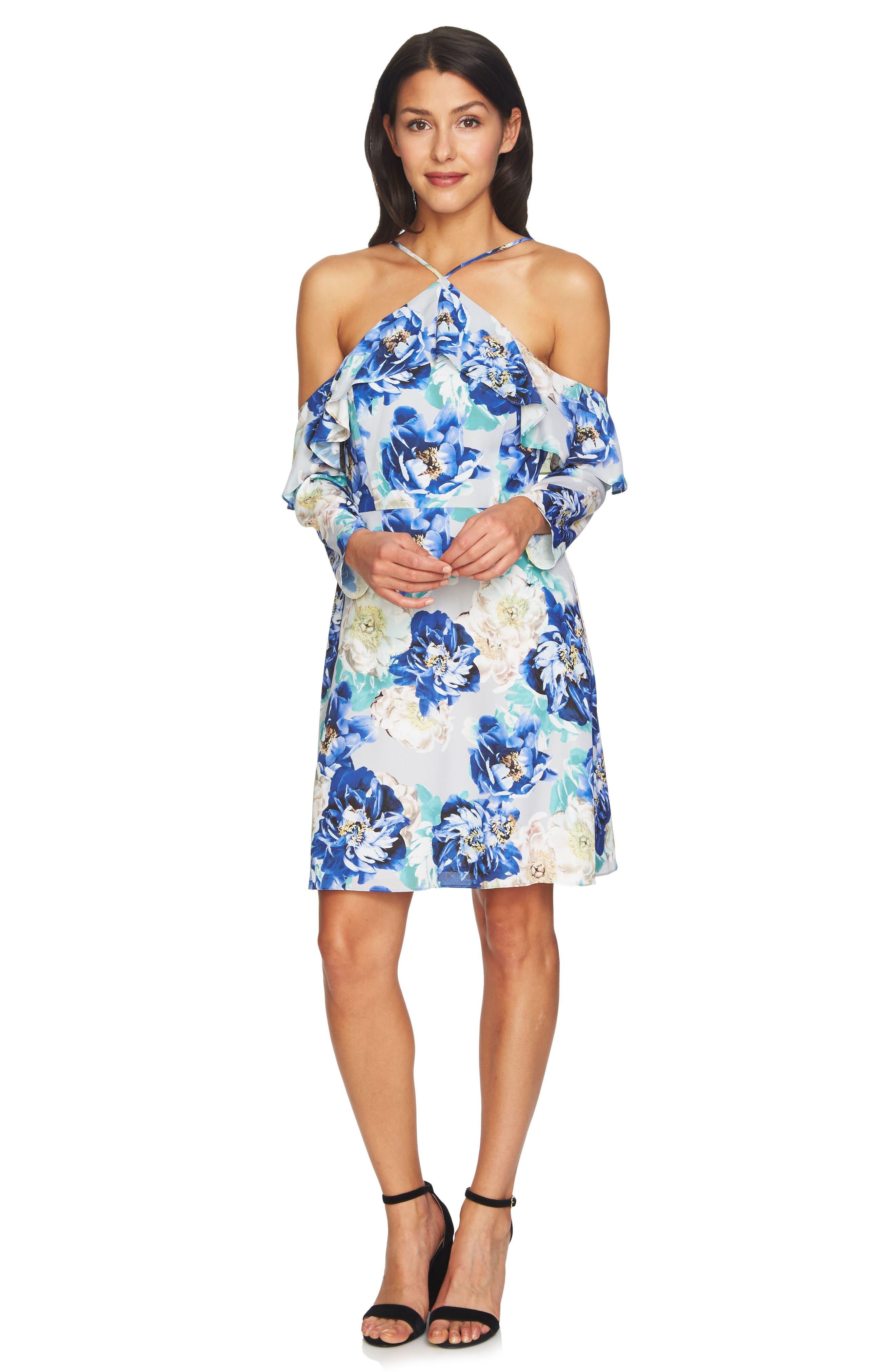 Alternate Image 2  - CeCe Iris Cold Shoulder Halter Dress