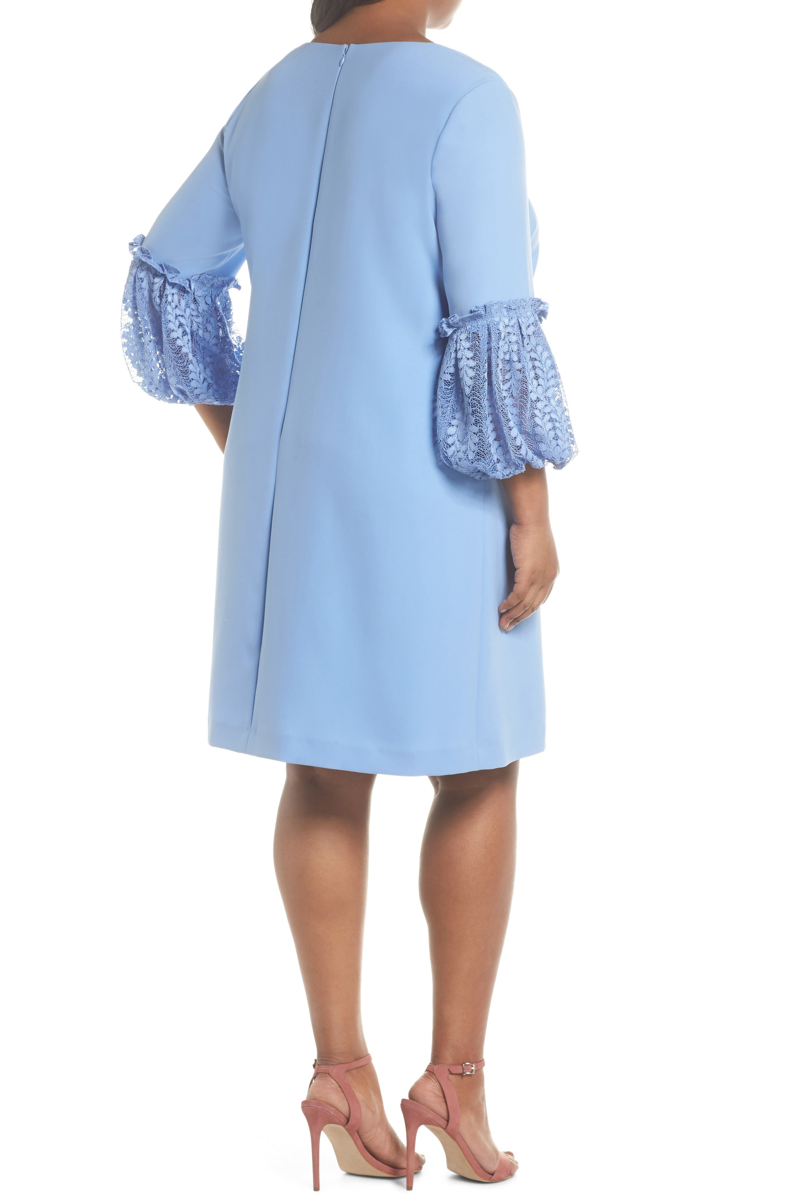Lace Bell Sleeve Shift Dress,                             Alternate thumbnail 2, color,                             Periwinkle