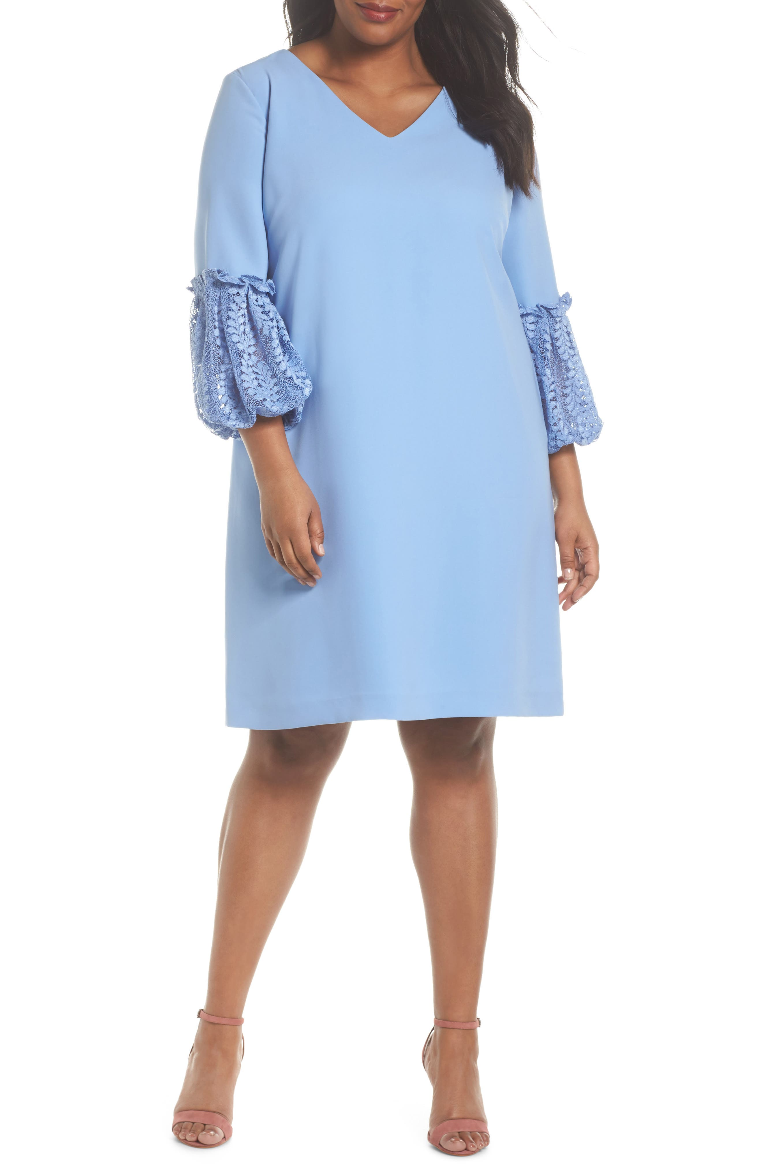 Lace Bell Sleeve Shift Dress,                         Main,                         color, Periwinkle