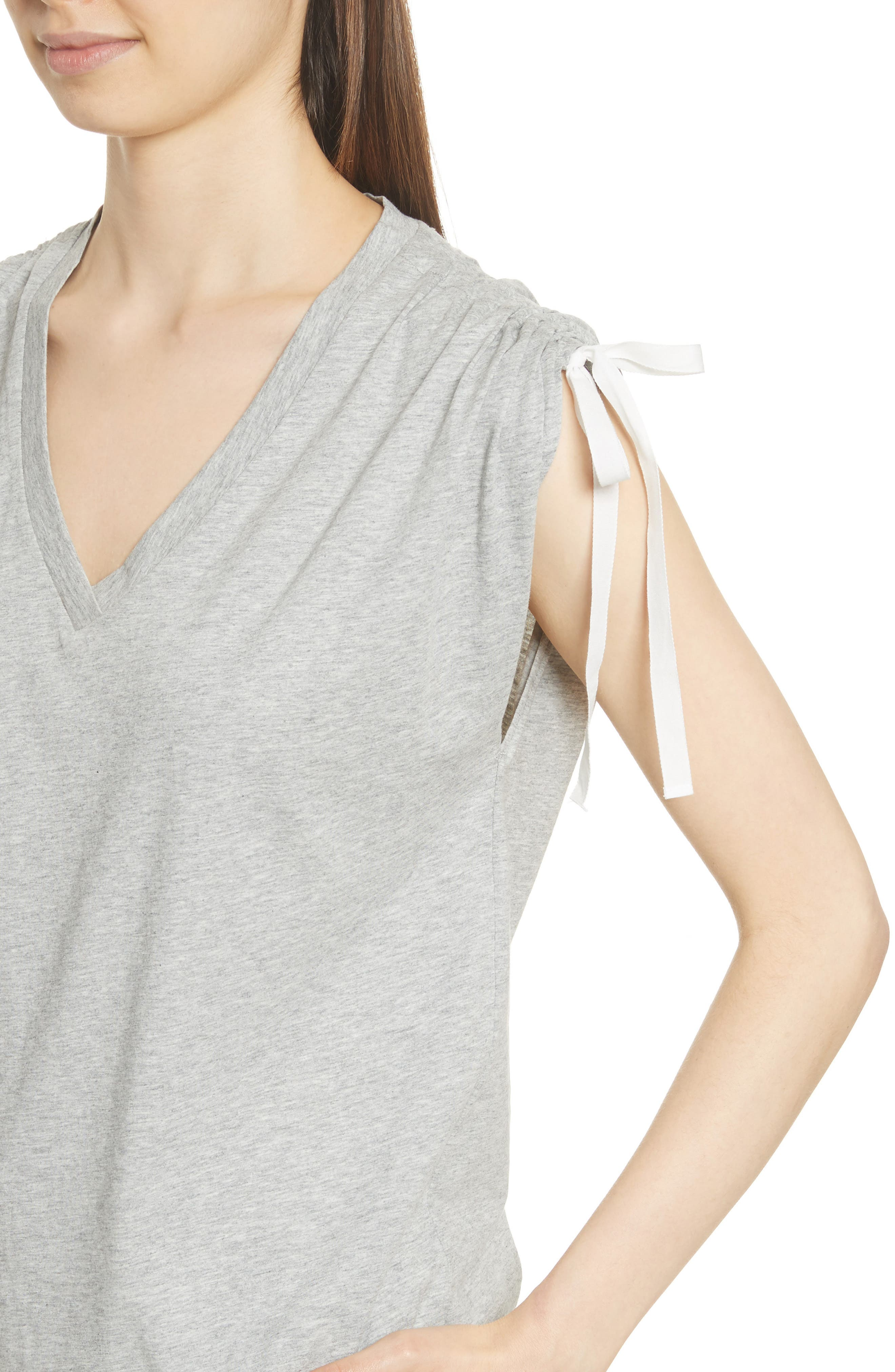 Ruched Shoulder Tee,                             Alternate thumbnail 4, color,                             Heather Grey