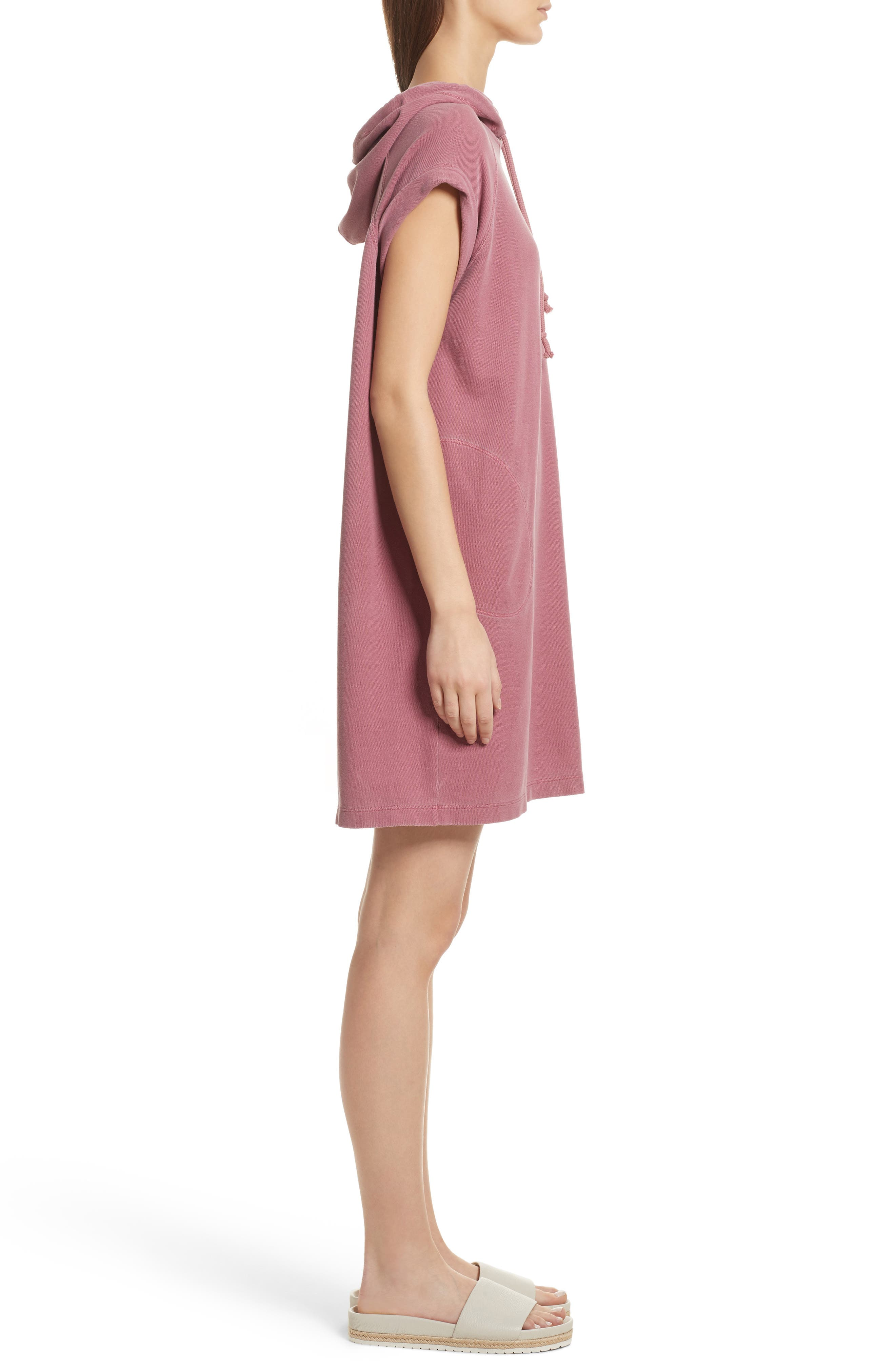 Piqué Hooded Dress,                             Alternate thumbnail 3, color,                             Nantucket Red