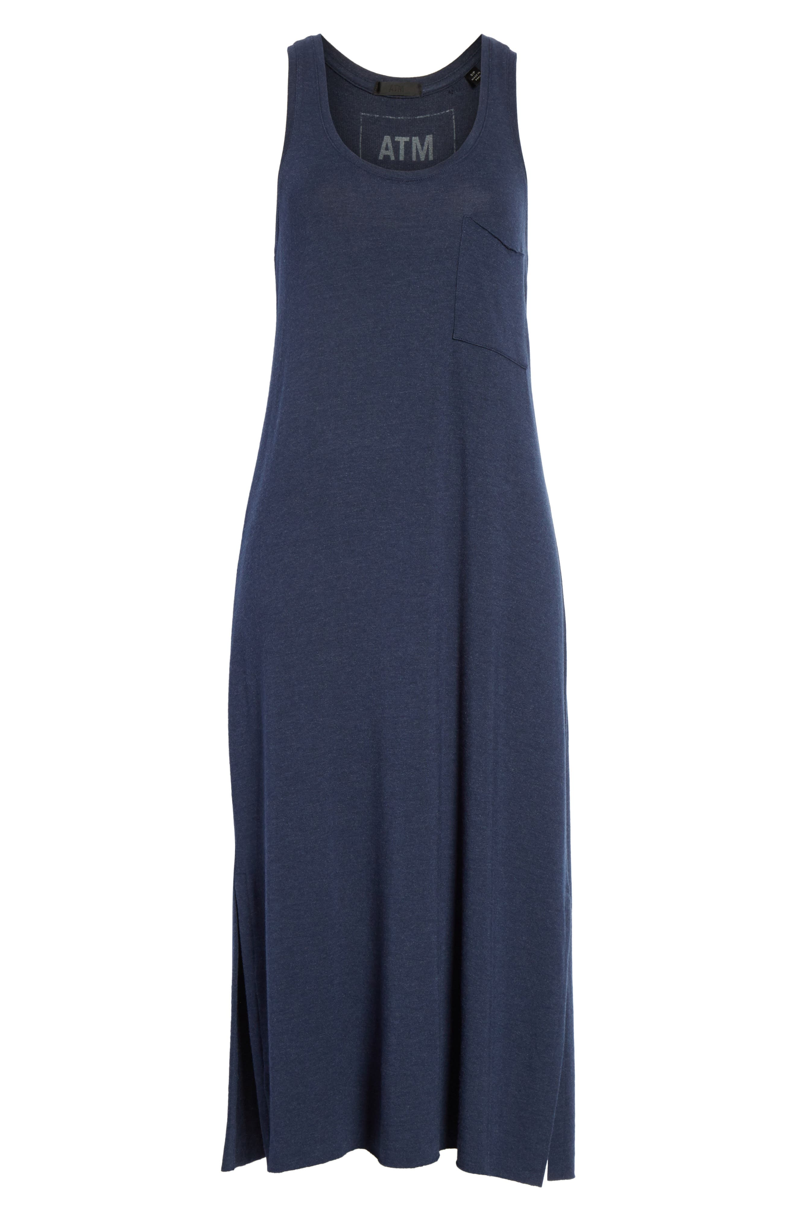 Pocket Midi Dress,                             Alternate thumbnail 6, color,                             Heather Denim