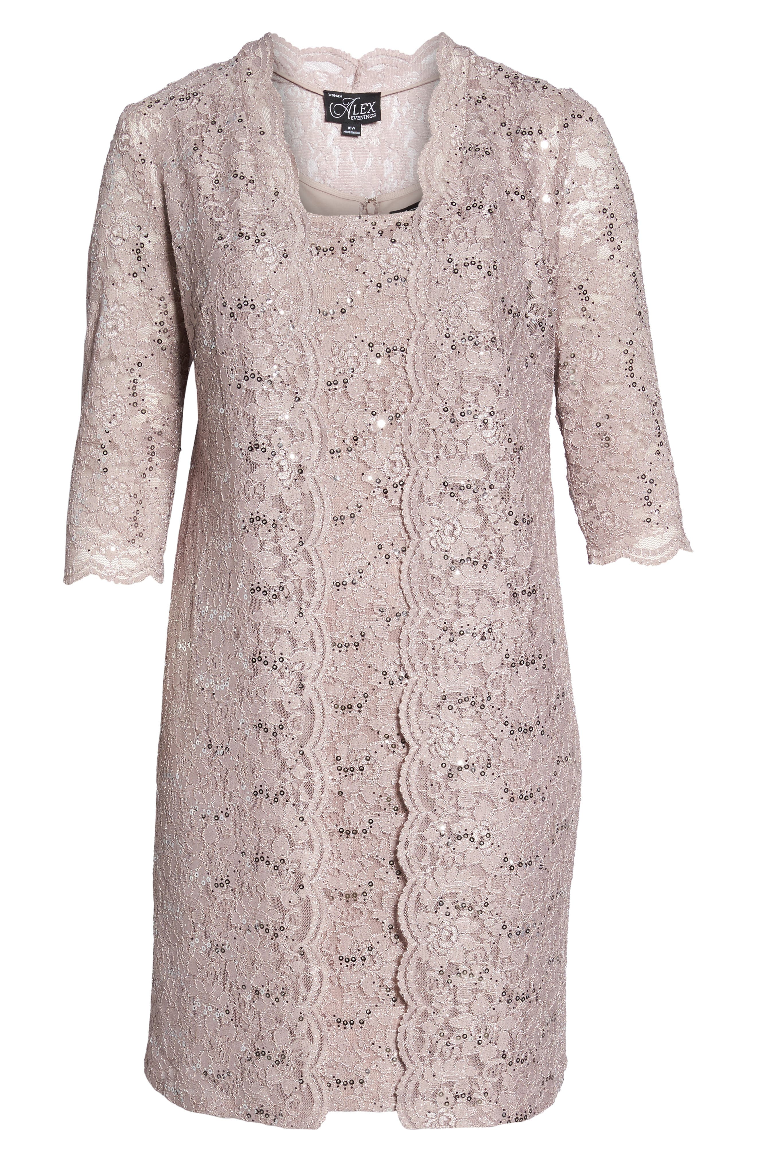 Sequin Lace Sheath Dress with Jacket,                             Alternate thumbnail 5, color,                             Pure Rose