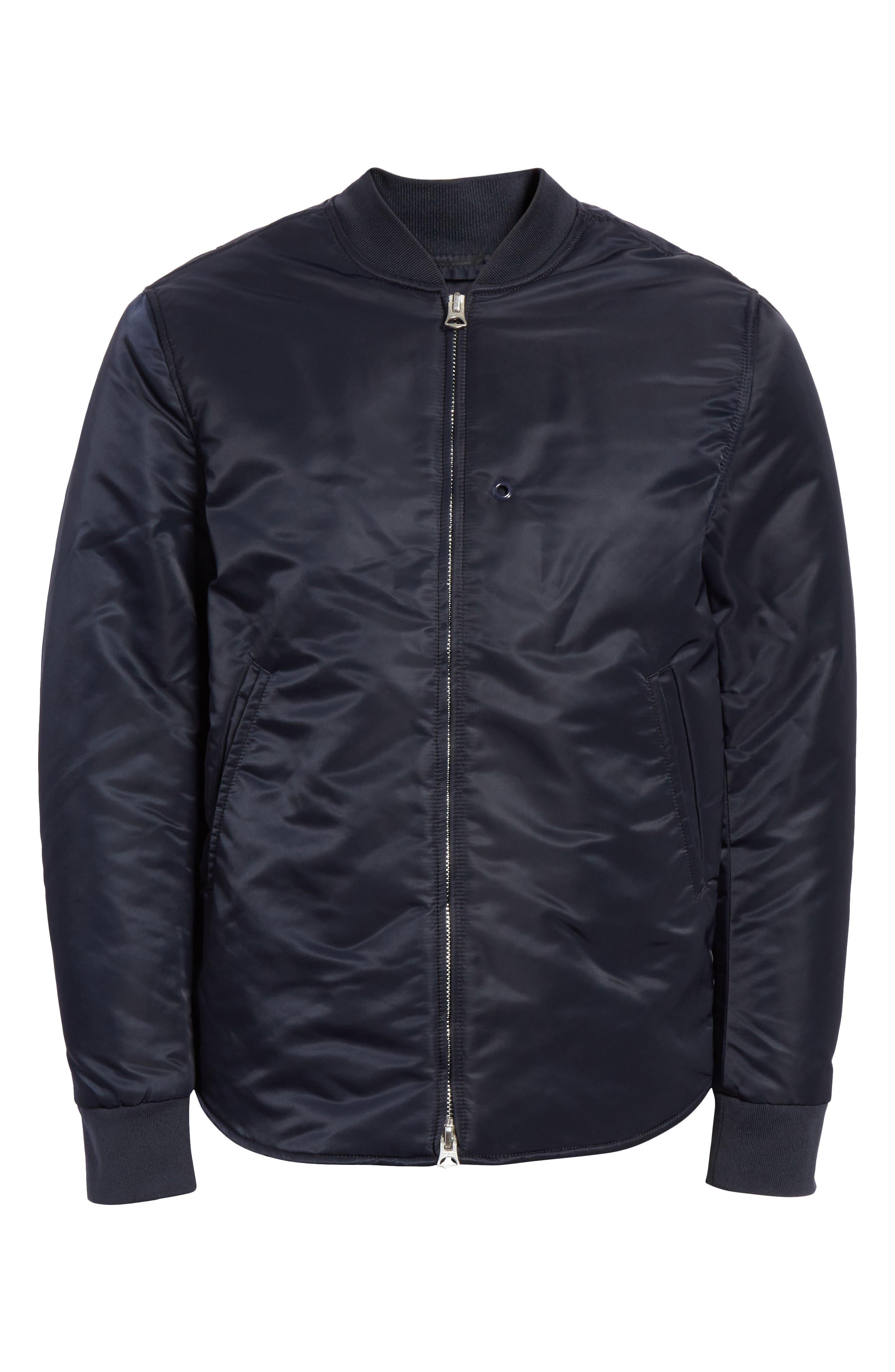 Nylon Bomber Jacket,                             Alternate thumbnail 6, color,                             Midnight Blue