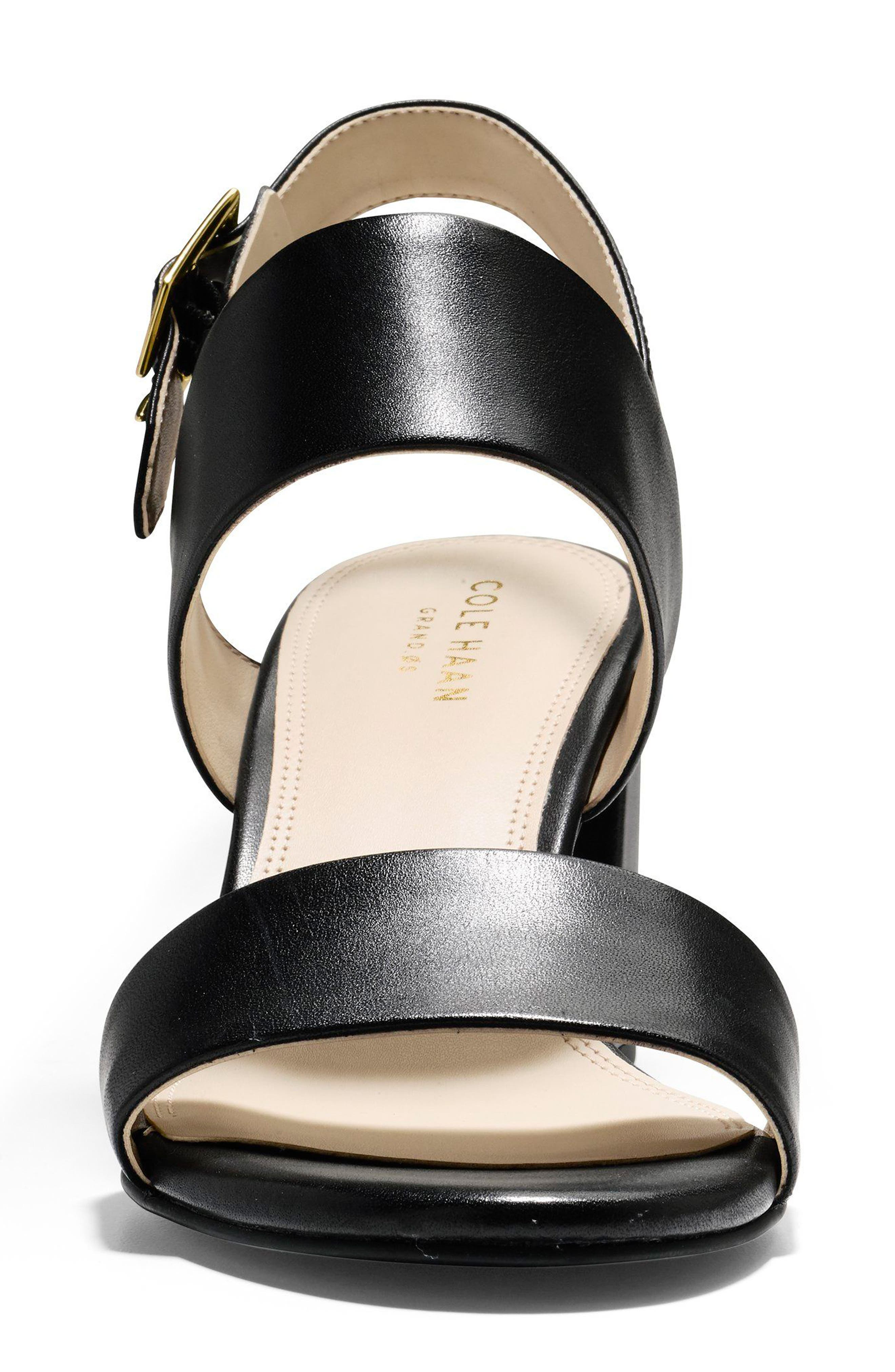 Avani Block Heel Sandal,                             Alternate thumbnail 4, color,                             Black Leather