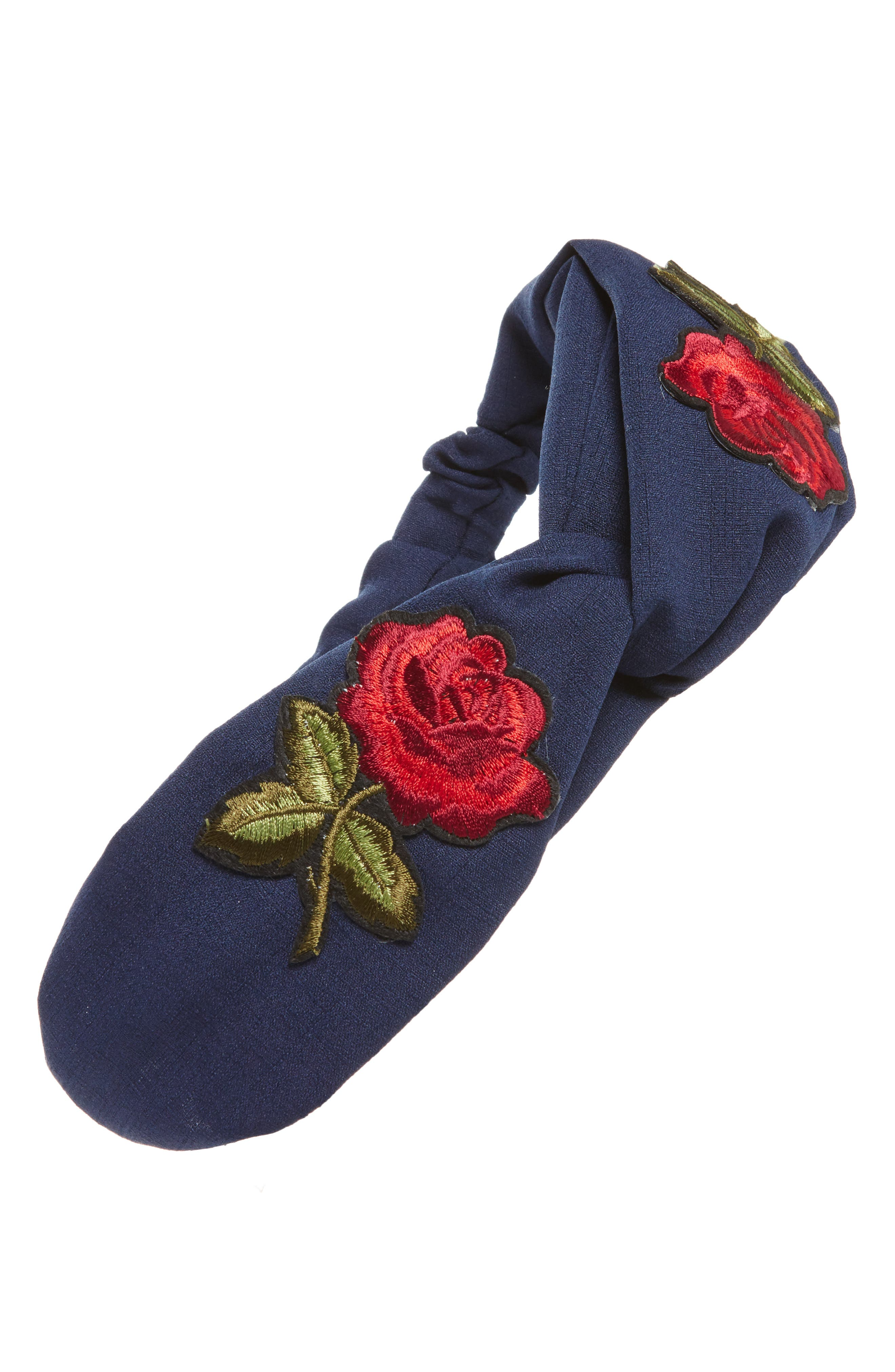 Embroidered Rose Patch Twist Head Wrap,                         Main,                         color, Denim