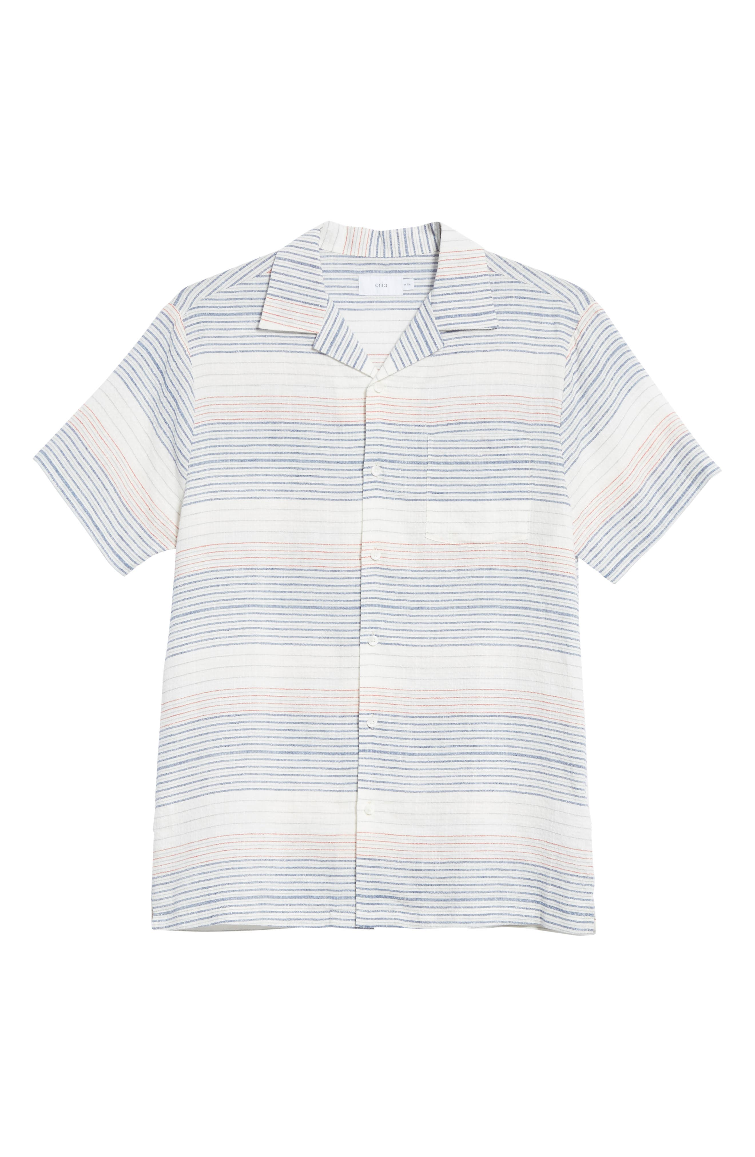 Americana Stripe Woven Camp Shirt,                             Alternate thumbnail 6, color,                             Multi