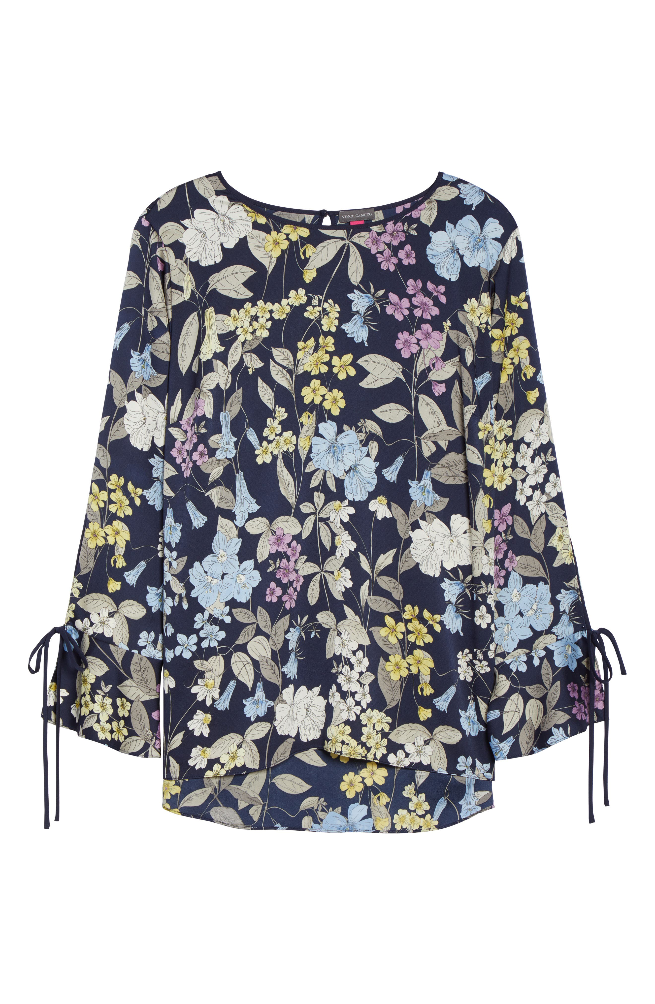 Country Floral Bell Sleeve Top,                             Alternate thumbnail 6, color,                             Night Sky