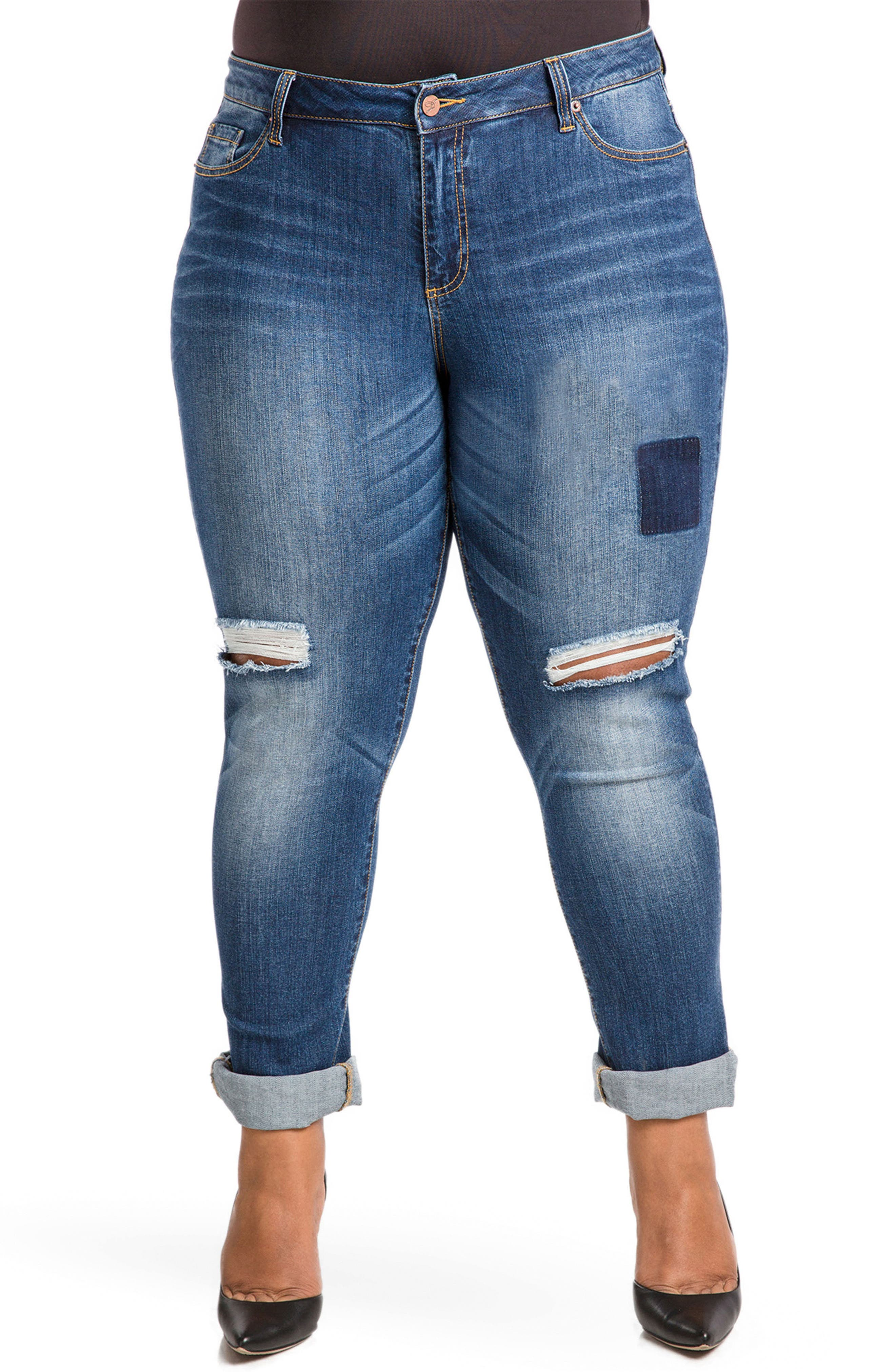 Alternate Image 1 Selected - Poetic Justice Shaw Curvy Fit Boyfriend Jeans (Plus Size)