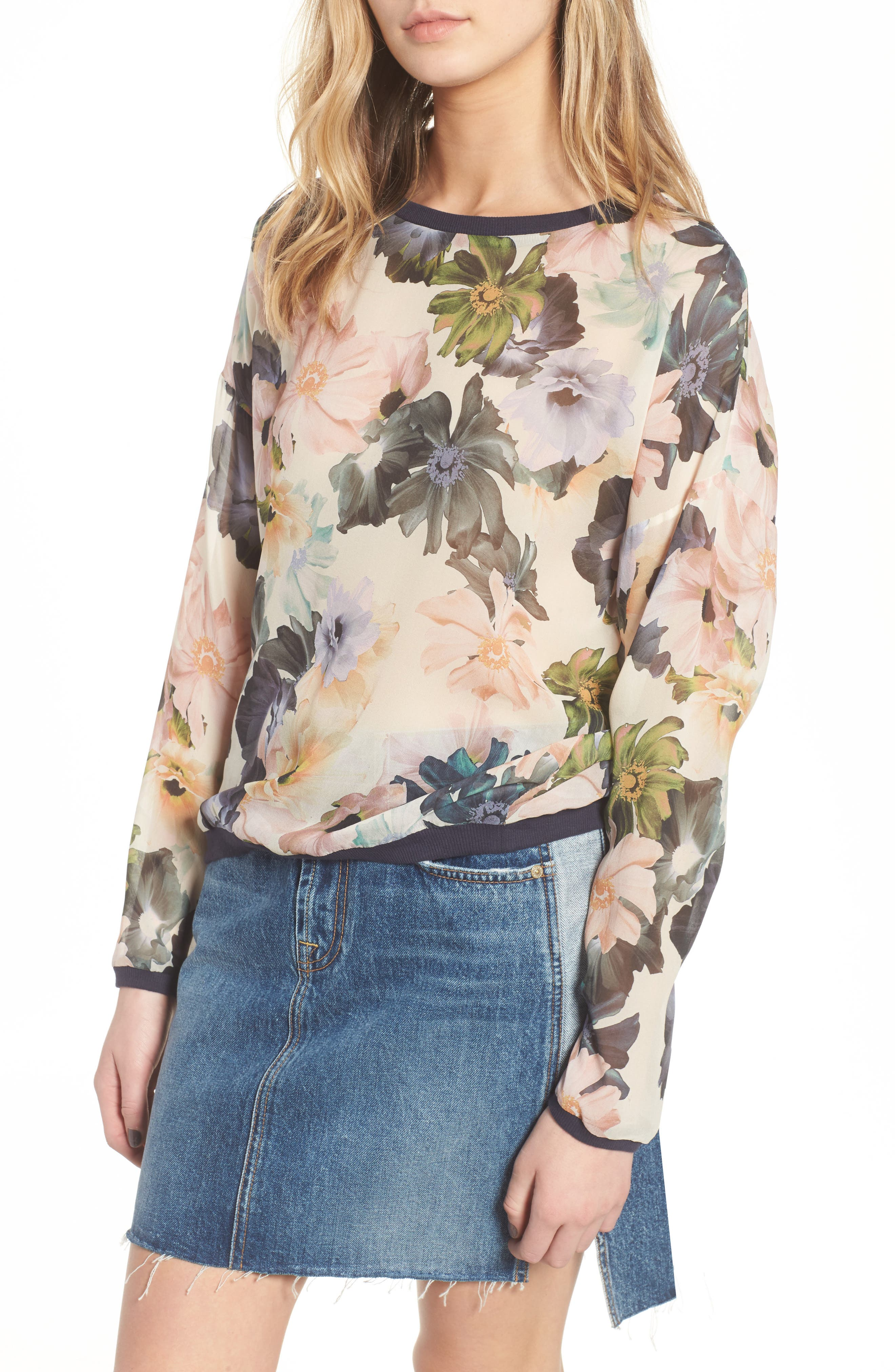 Georgette Sweatshirt,                         Main,                         color, Desert Garden Print