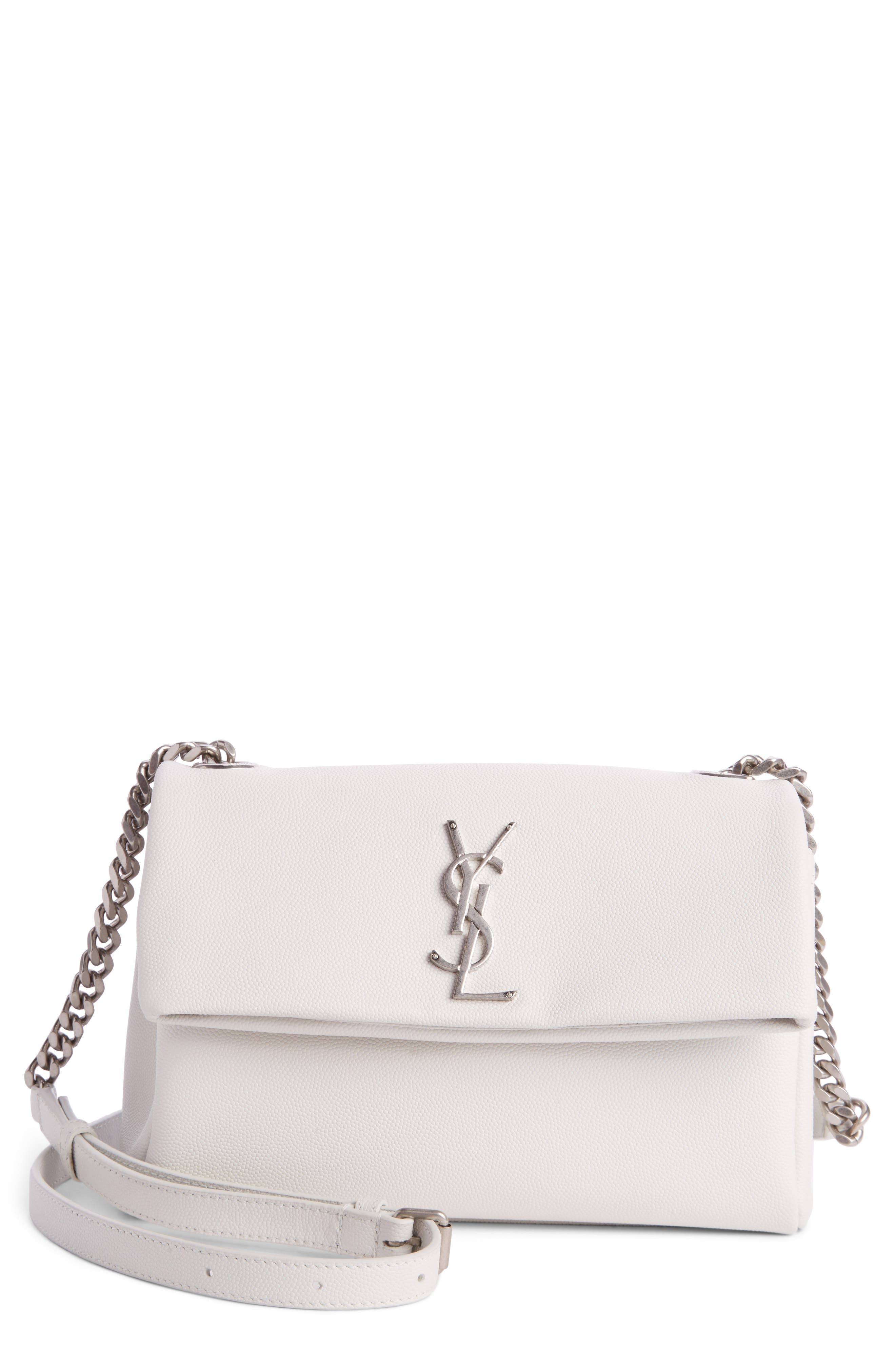 West Hollywood Calfskin Leather Messenger Bag,                         Main,                         color, Pearl White