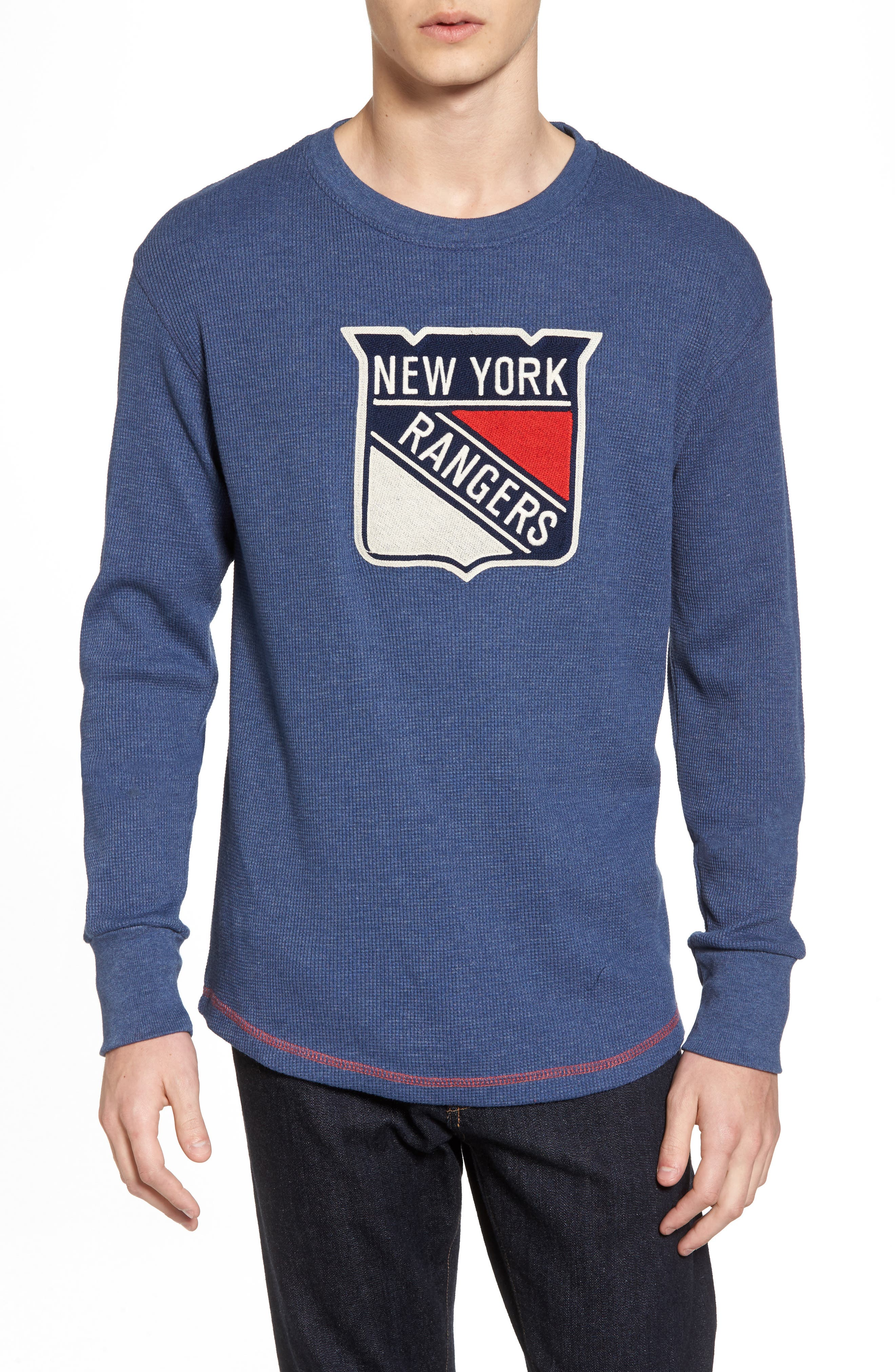 New York Rangers Embroidered Long Sleeve Thermal Shirt,                         Main,                         color, Navy