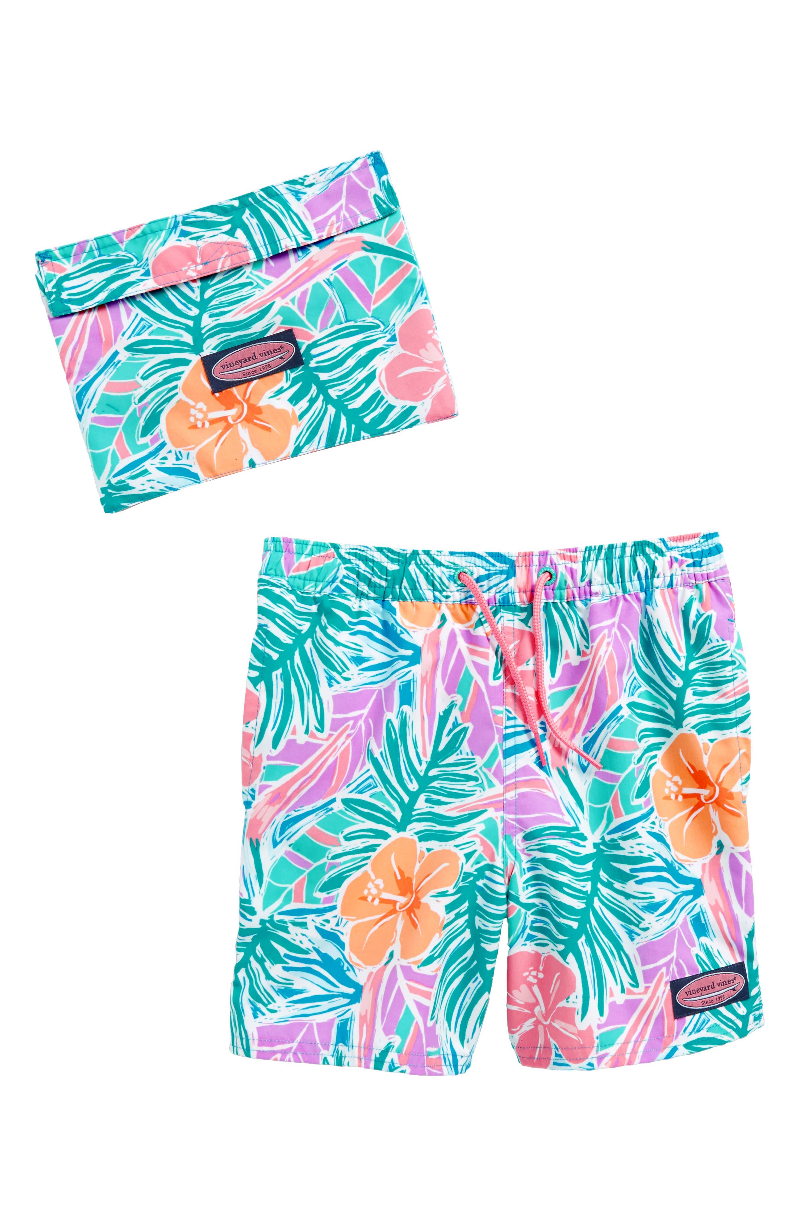 Chappy Gulf Tropical Swim Trunks,                         Main,                         color, Island Blue