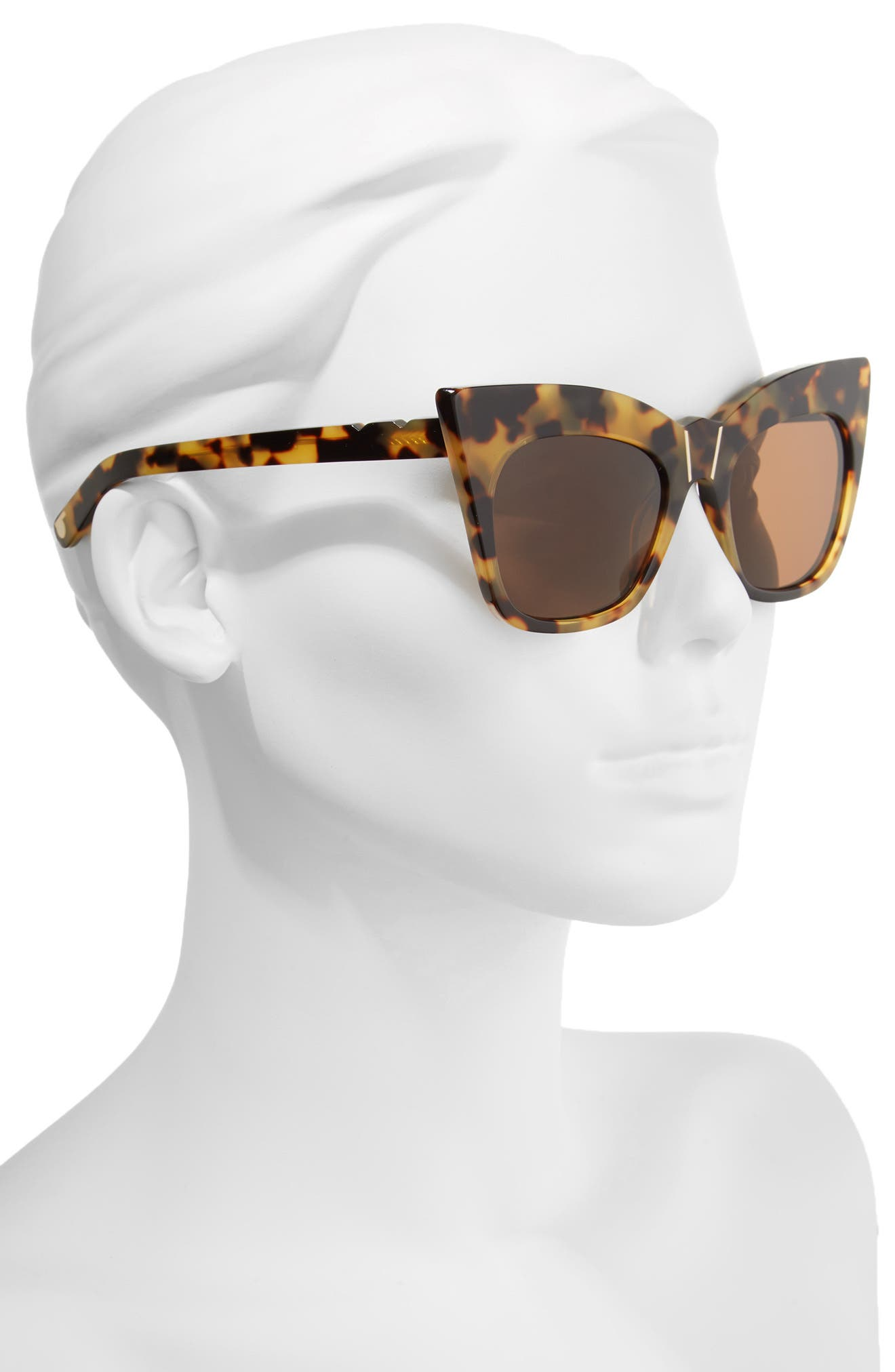 Kohl & Kaftans 52mm Cat Eye Sunglasses,                             Alternate thumbnail 3, color,                             Dark Tortoise/ Brown Gradient