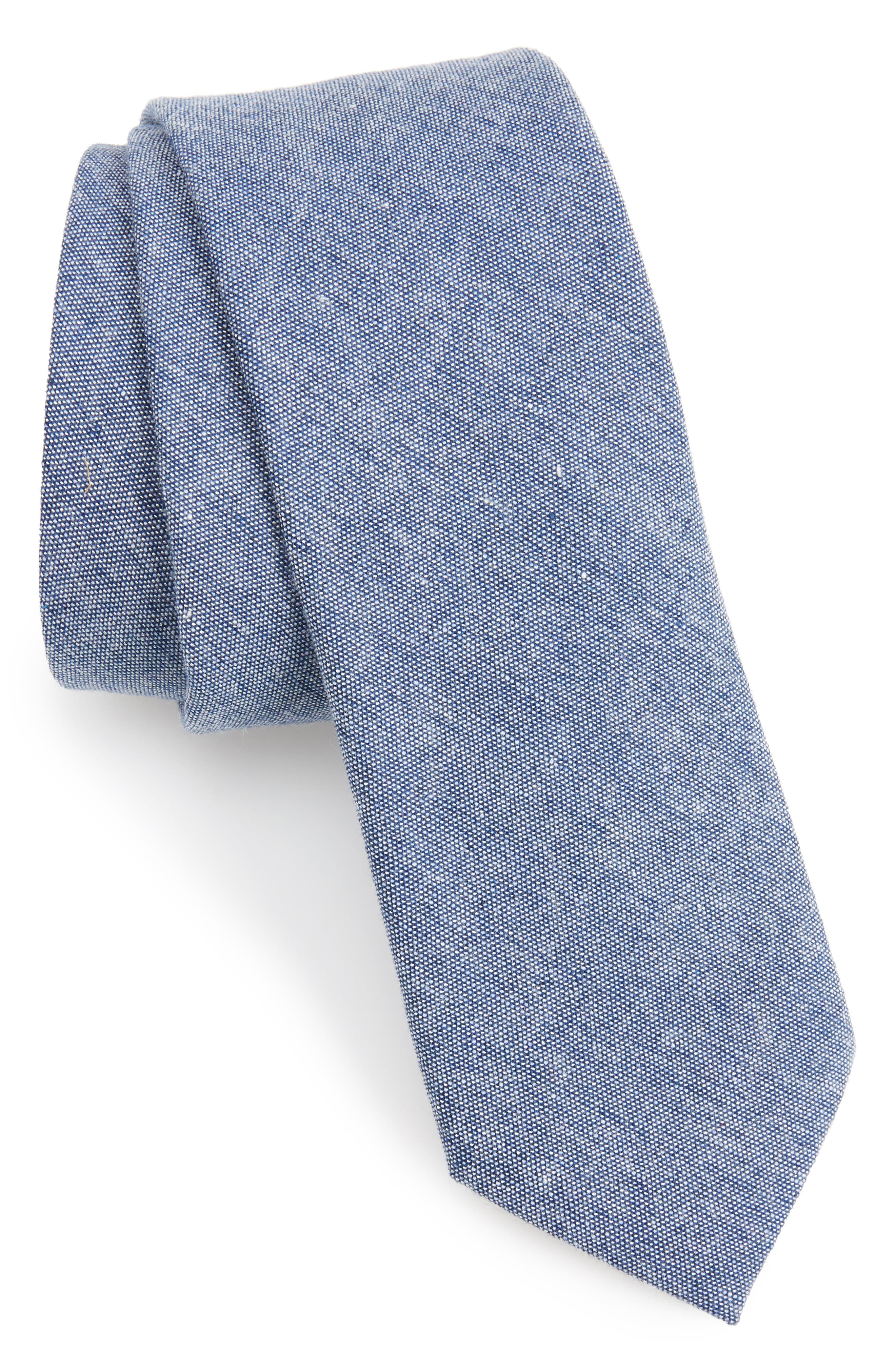 Textured Skinny Tie,                             Main thumbnail 1, color,                             Navy