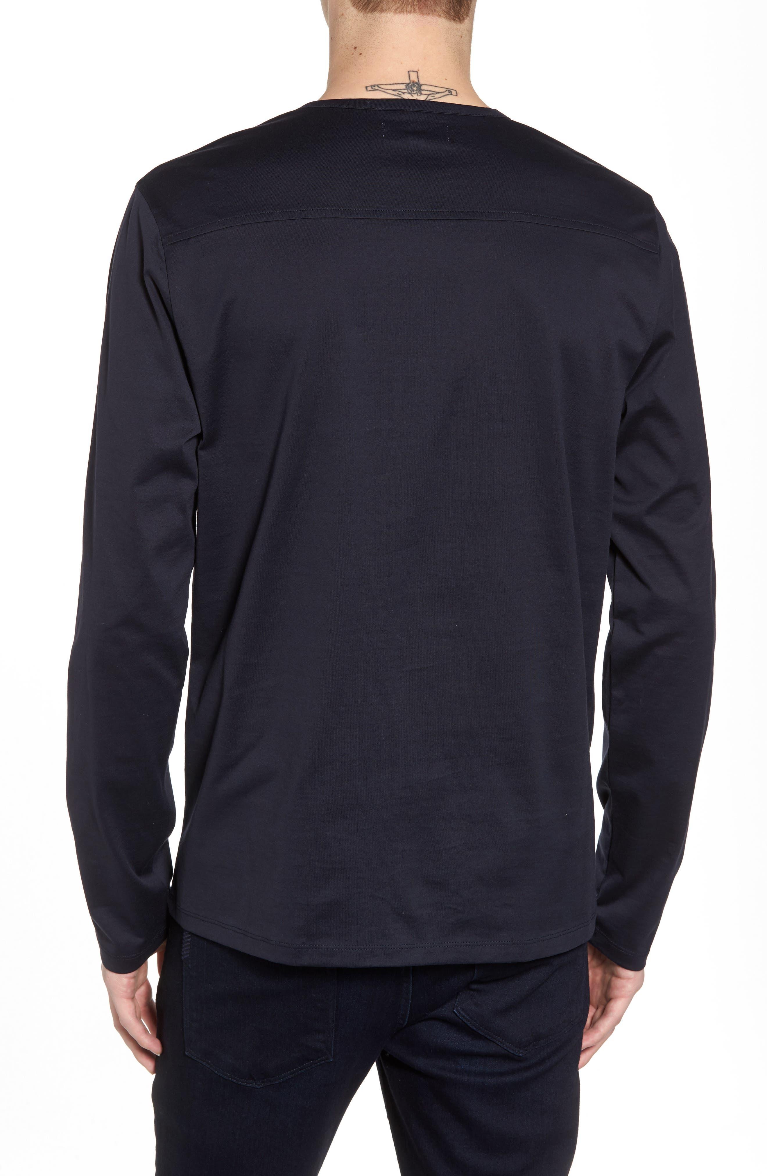 Mercerized Cotton Crewneck Long Sleeve T-Shirt,                             Alternate thumbnail 2, color,                             Navy Night