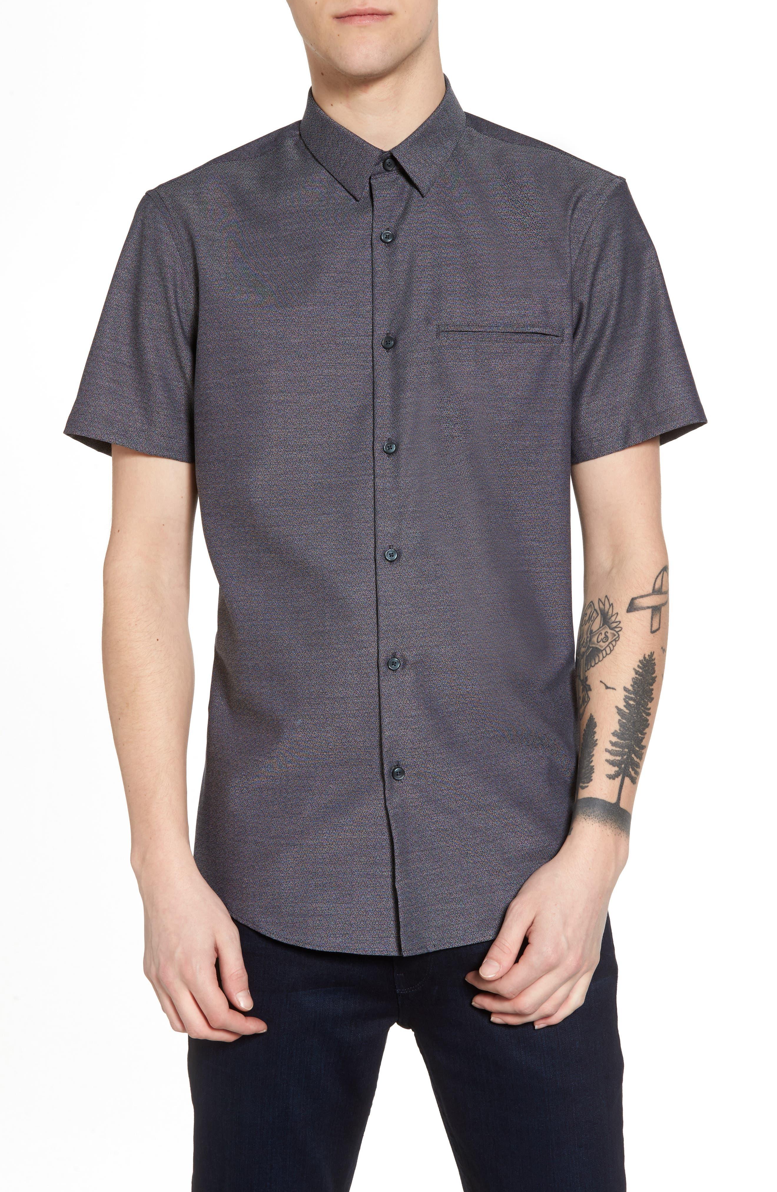Trim Fit Jaspé Short Sleeve Sport Shirt,                         Main,                         color, Navy Night Jacquard