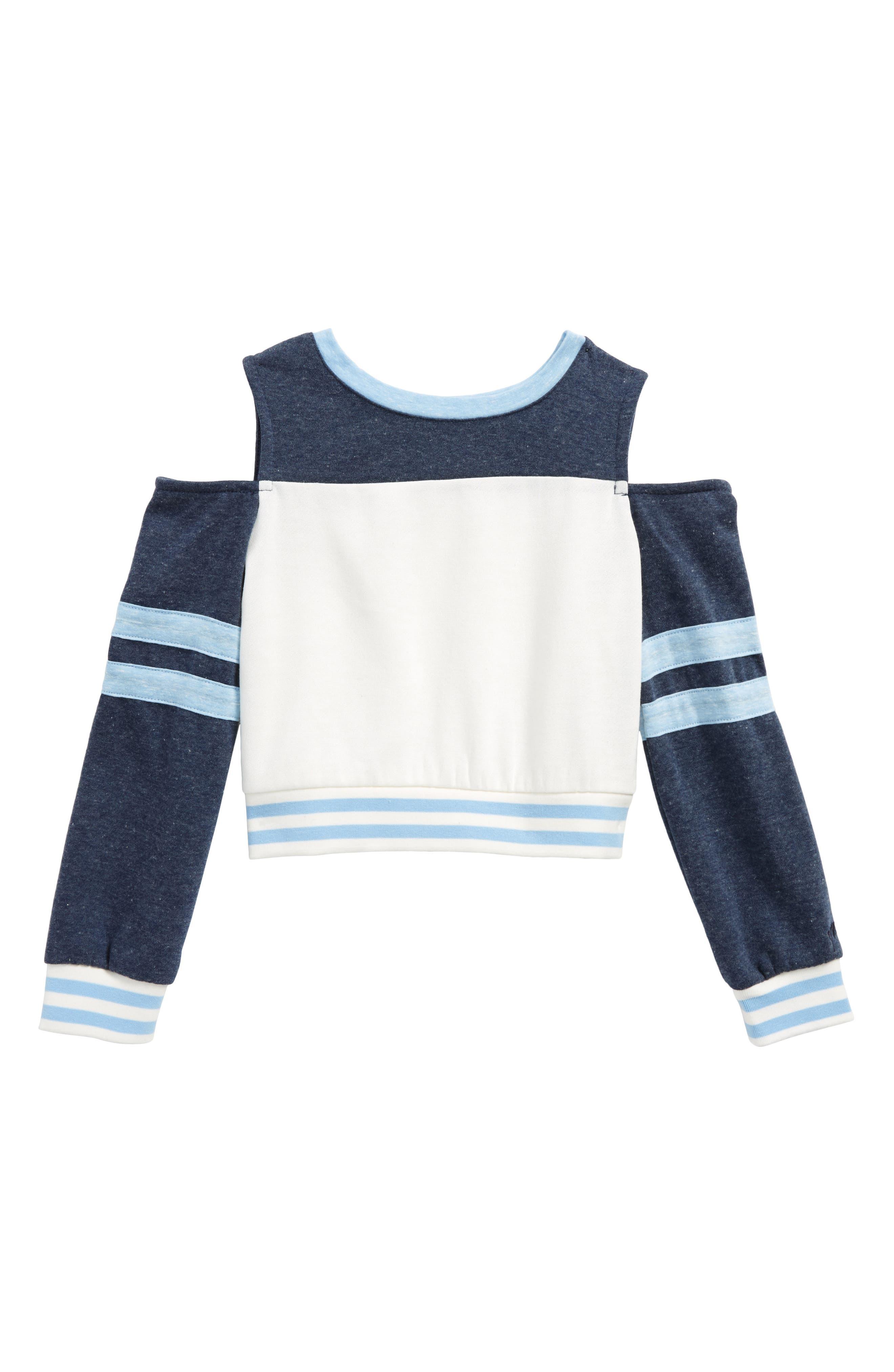Colorblock Cold Shoulder Top,                         Main,                         color, Blue/ Ivory
