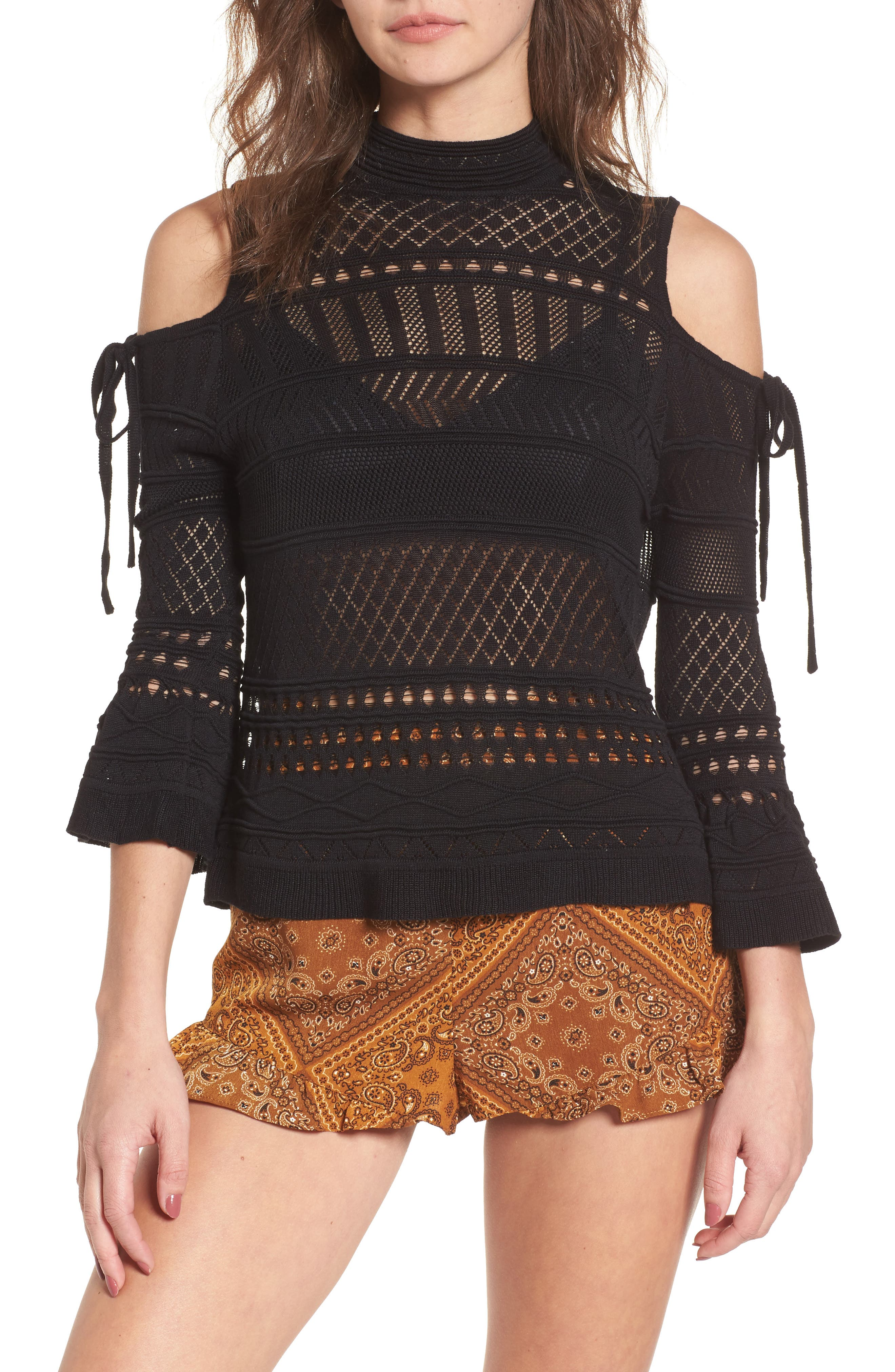 Alternate Image 1 Selected - Lira Clothing Annabel Cold Shoulder Pointelle Sweater