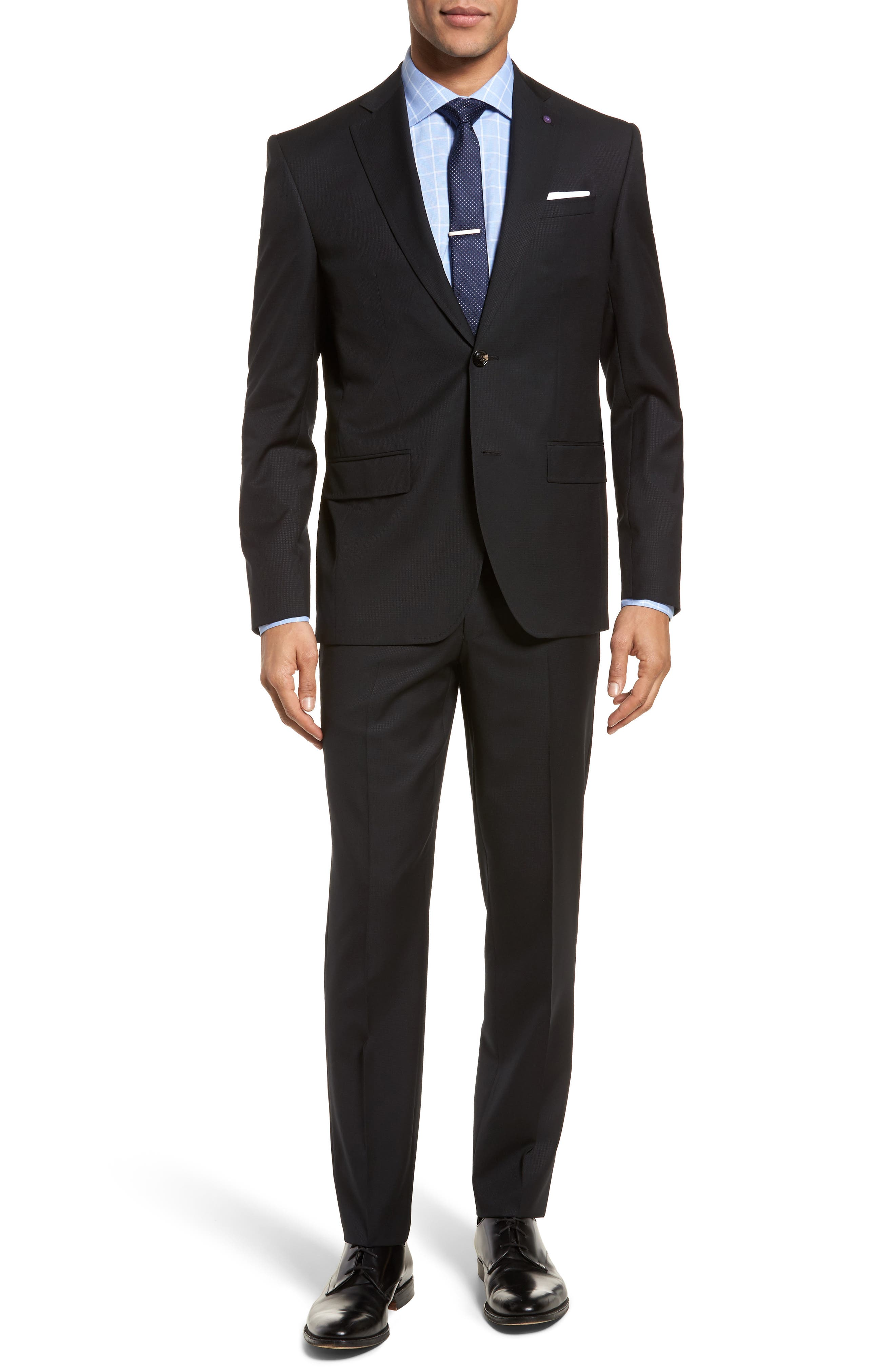 Roger Extra Slim Fit Solid Wool Suit,                             Main thumbnail 1, color,                             Black