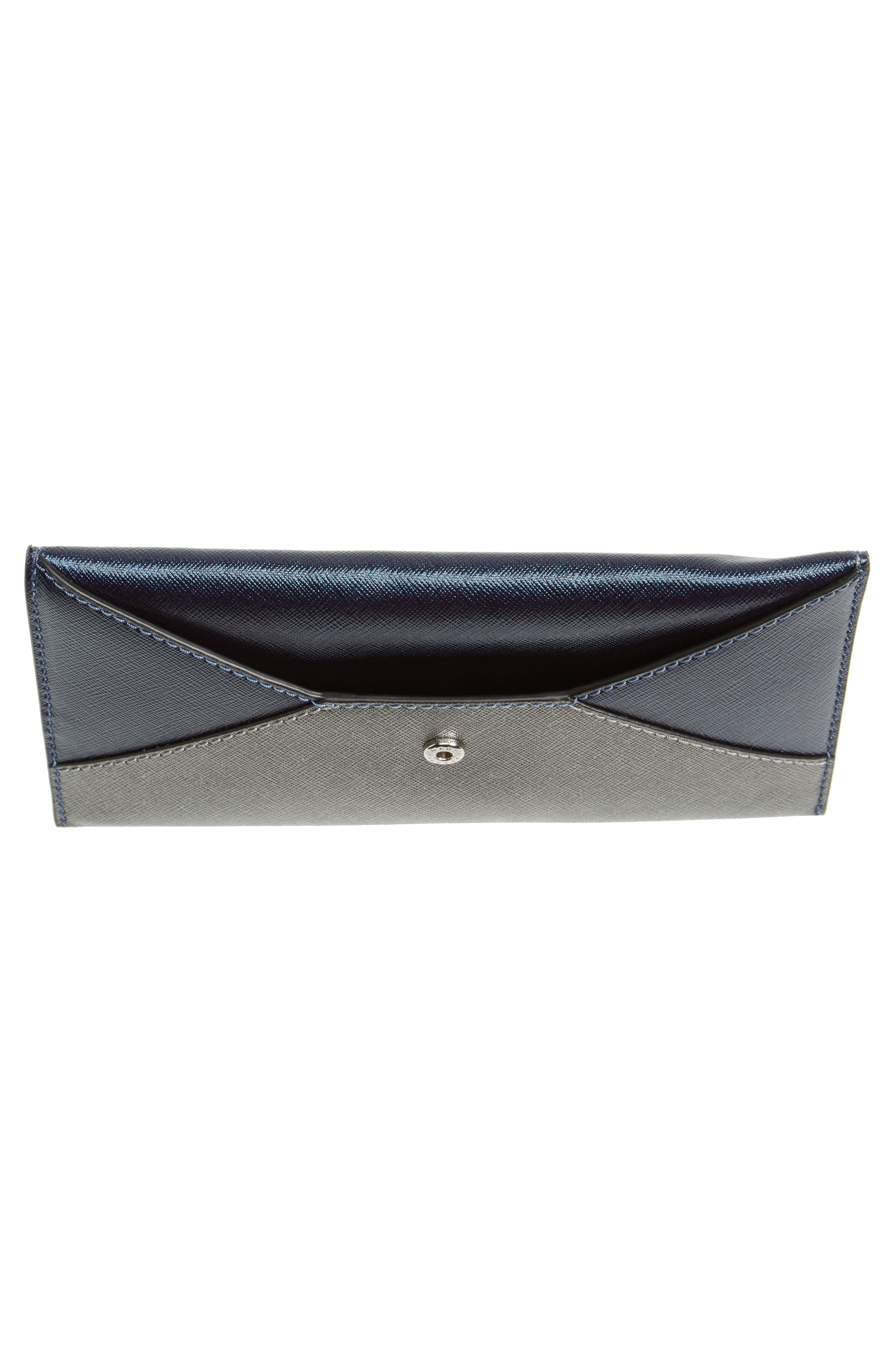 Double-J Saffiano Leather Pouch,                             Alternate thumbnail 4, color,                             Silver Multi